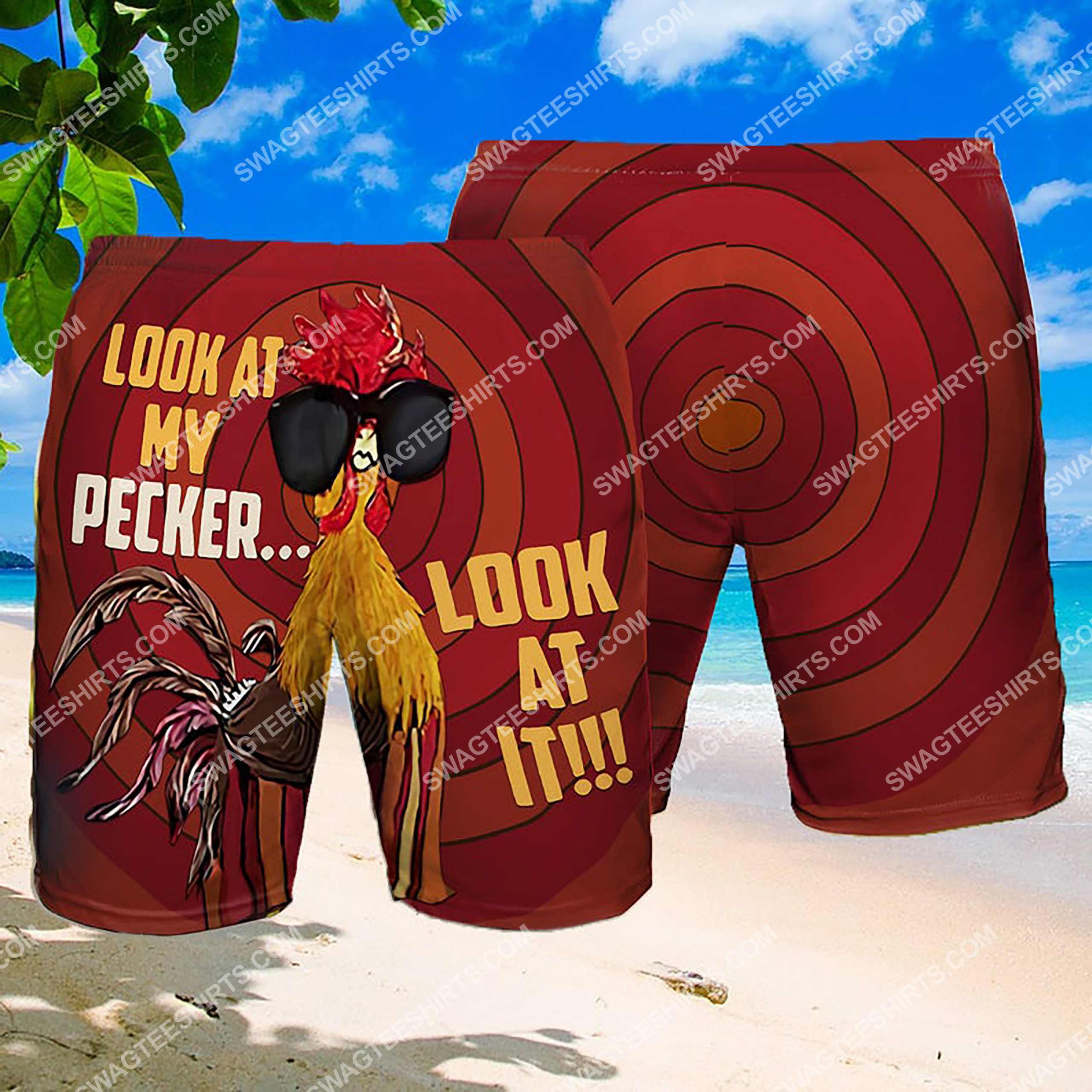 look at my pecker look at it summer beach shorts 3 - Copy