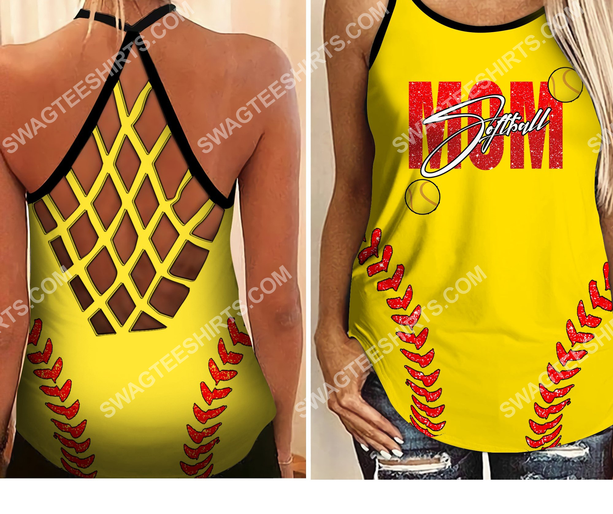 mom softball all over printed criss-cross tank top 2
