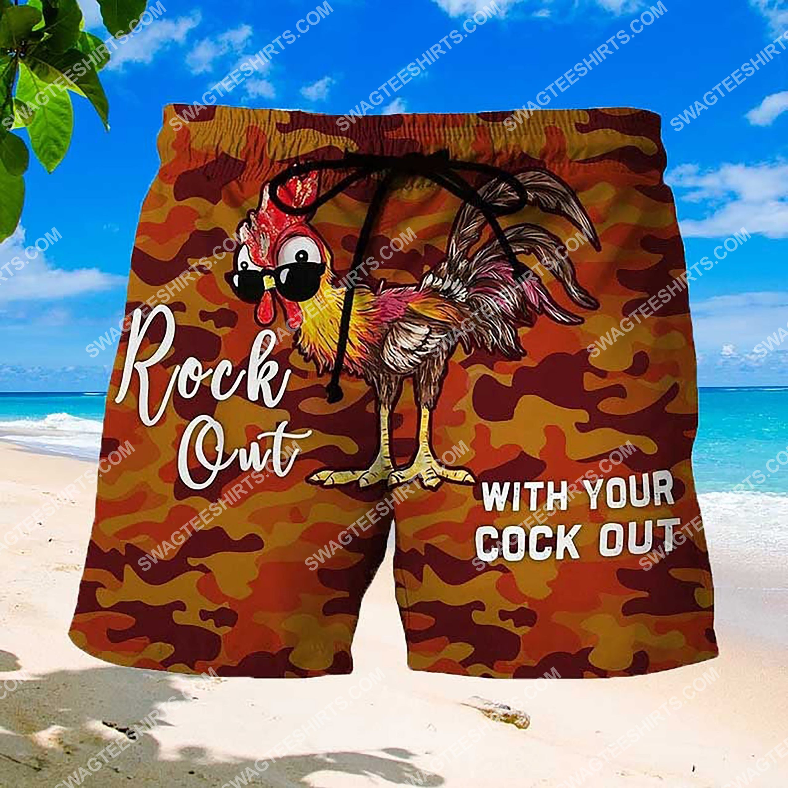 rock out with your cock out summer beach shorts 3