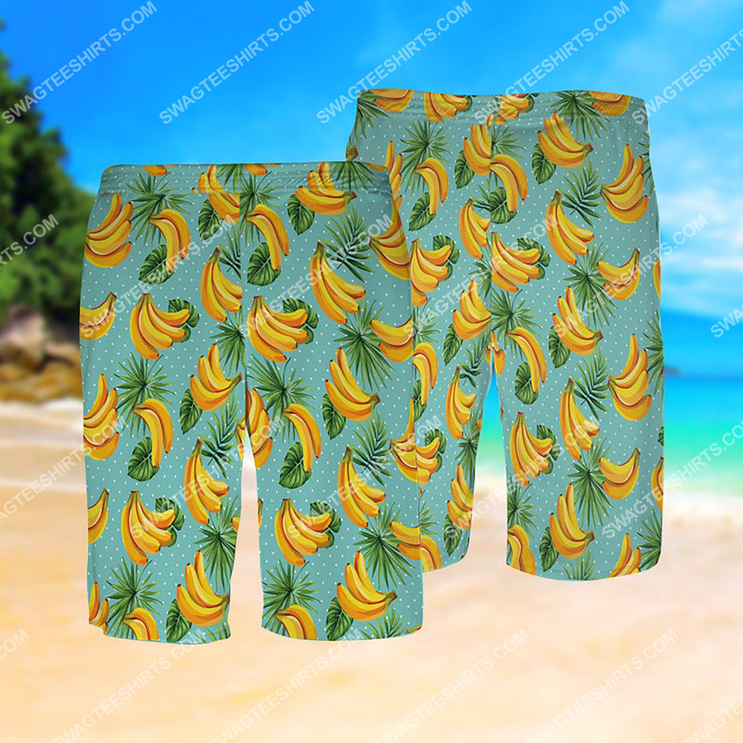summer time banana tropical all over print hawaiian shorts 1