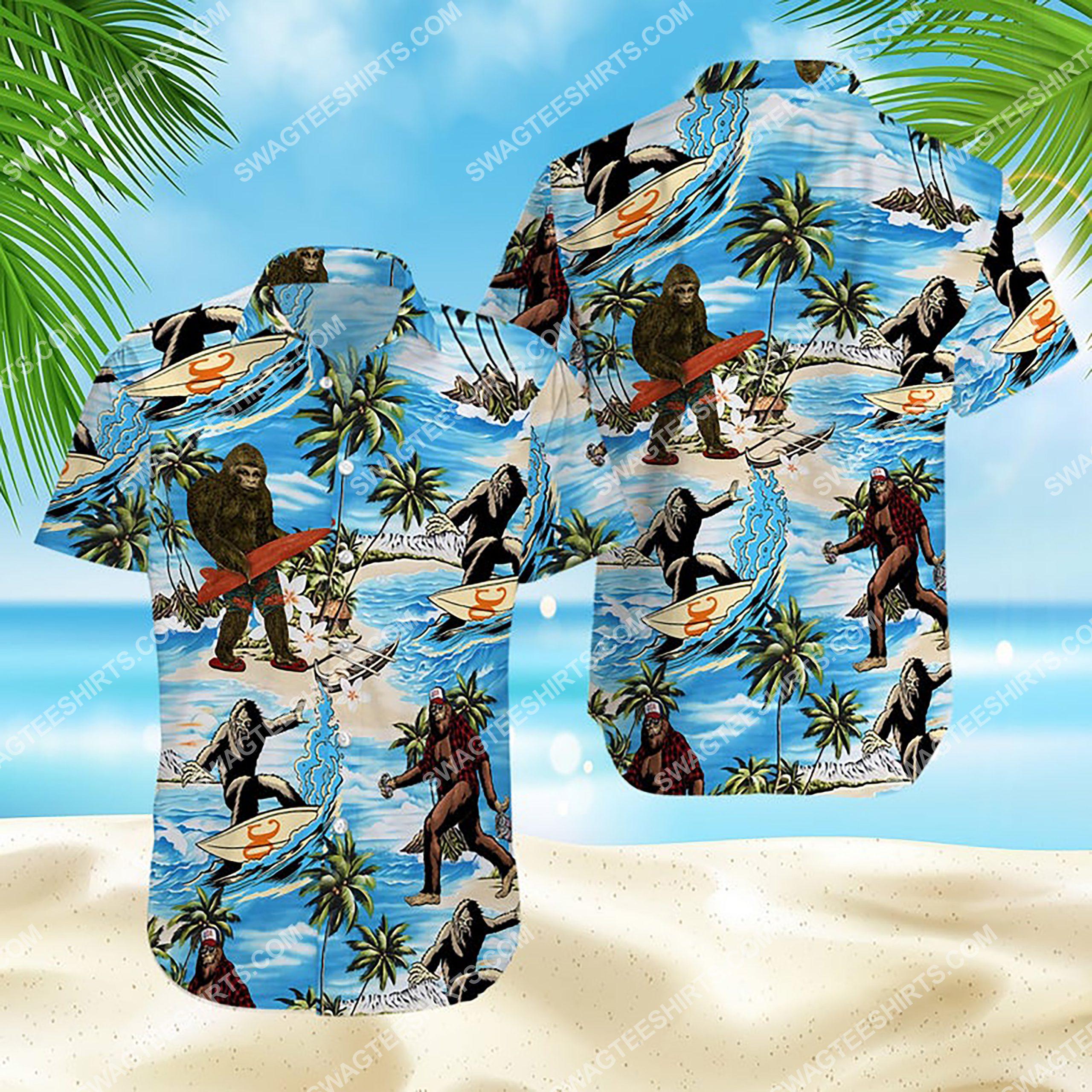 summer time bigfoot surfing all over print hawaiian shirt 3