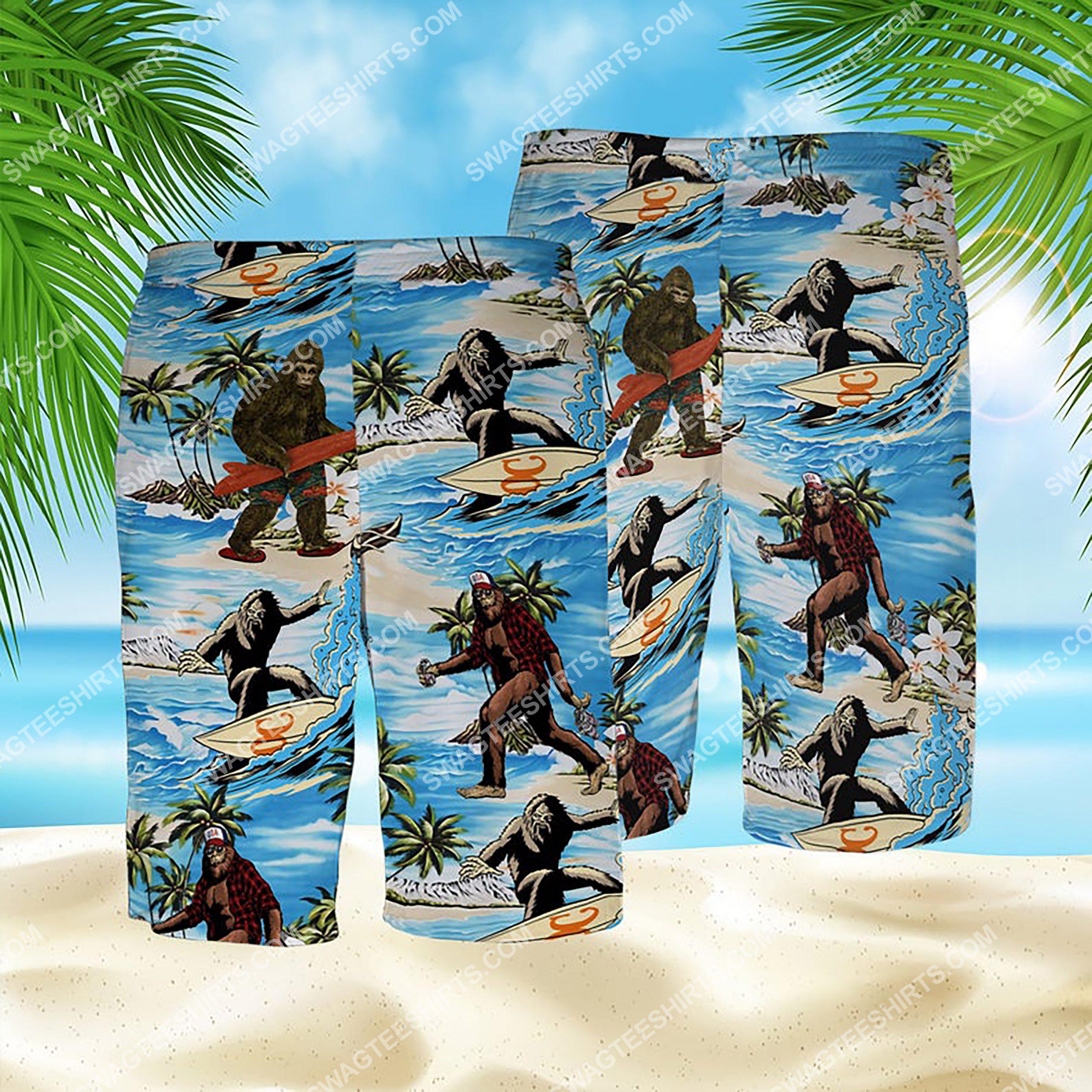 summer time bigfoot surfing all over print hawaiian shorts 1