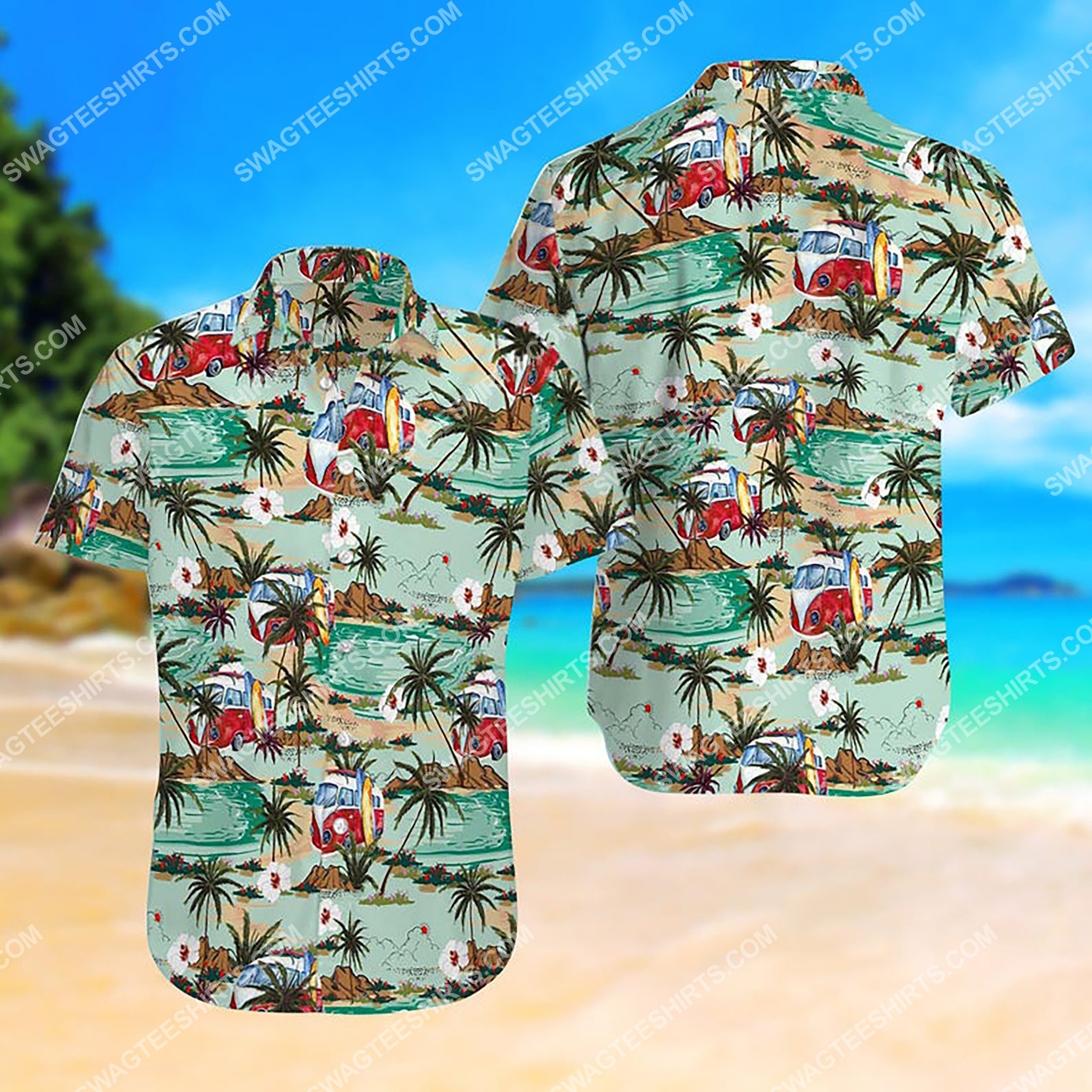 summer time hippie bus all over print hawaiian shirt 3