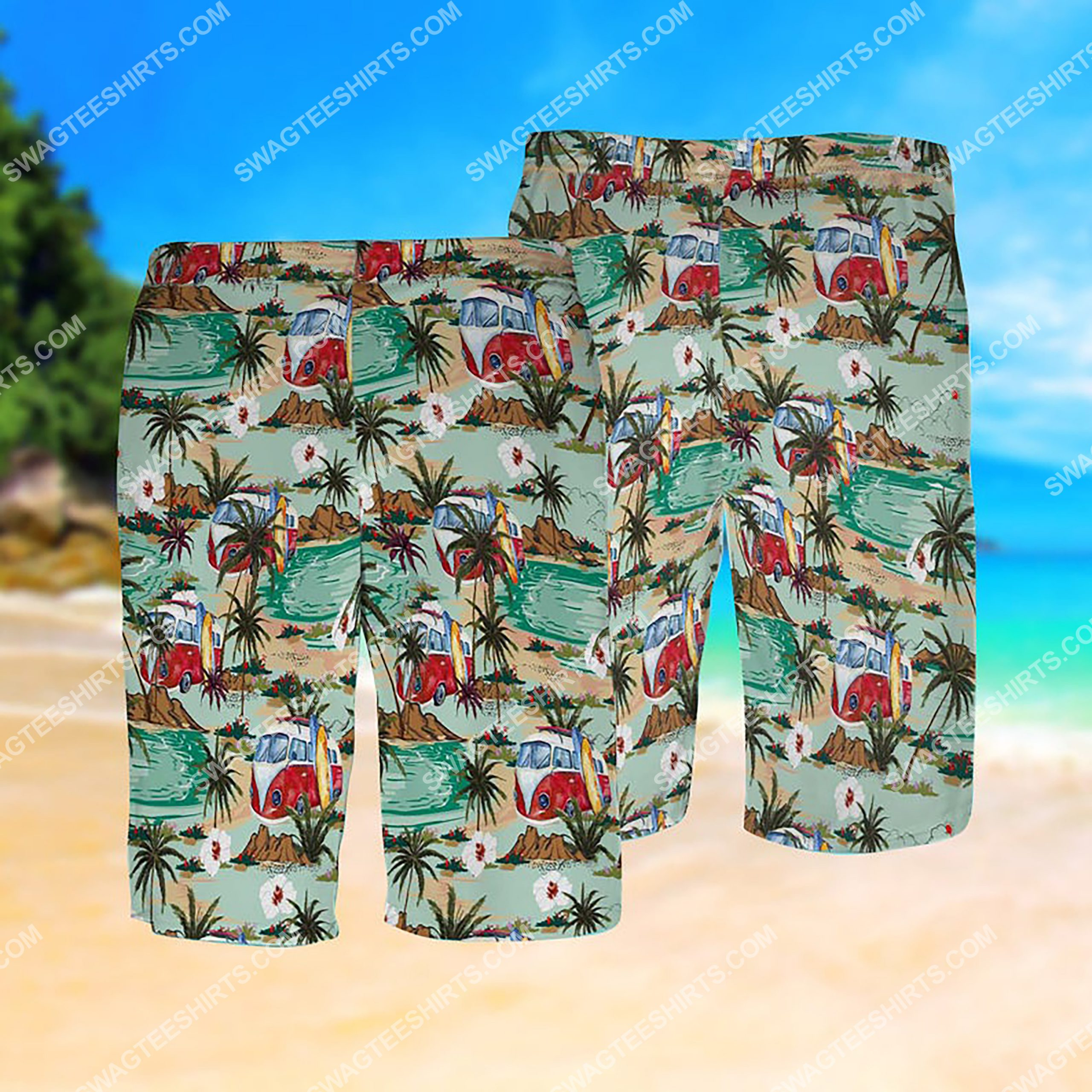 summer time hippie bus all over print hawaiian shorts 1