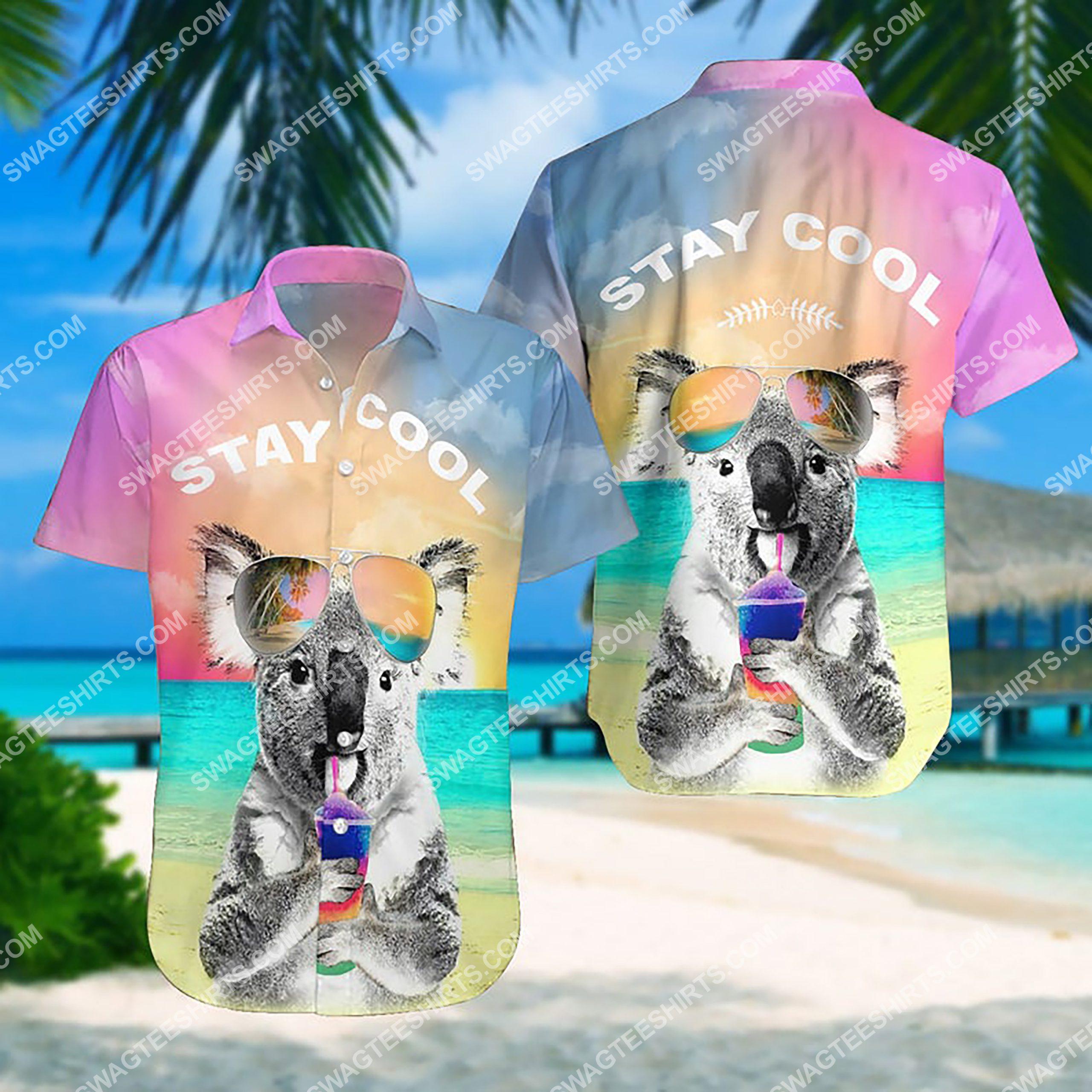 summer time koala stay cool all over print hawaiian shirt 3