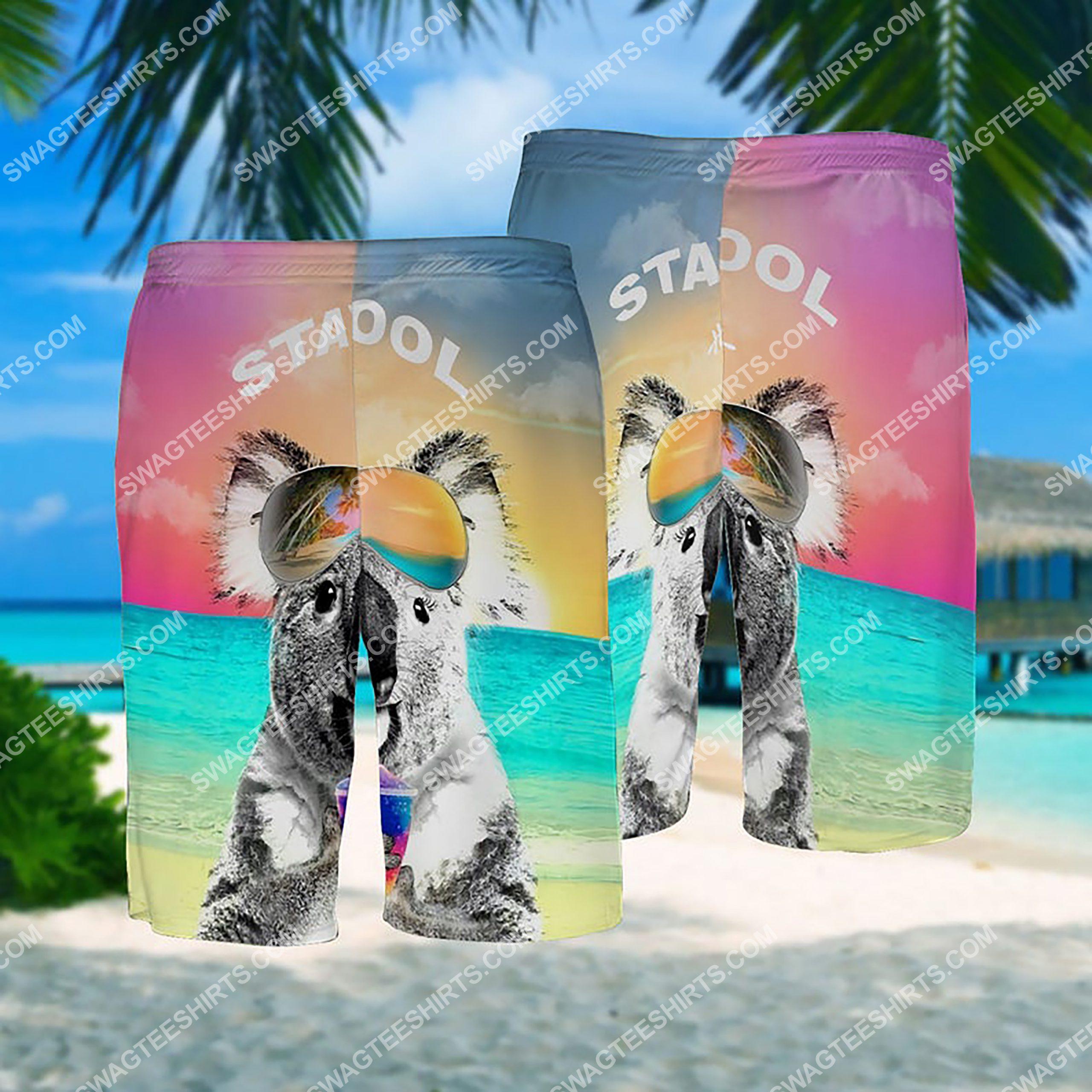 summer time koala stay cool all over print hawaiian shorts 1
