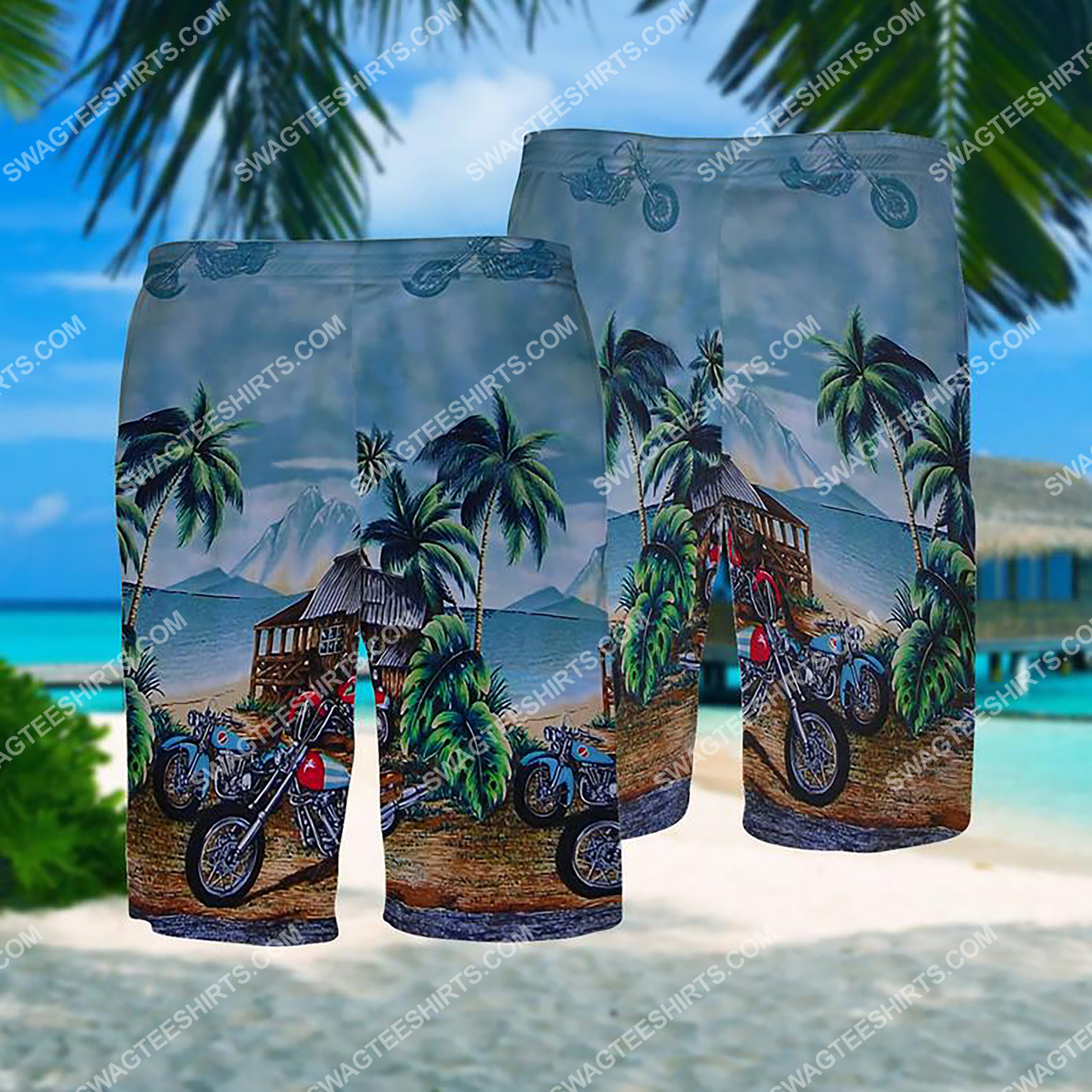 summer time motorcycle all over print hawaiian shorts 1