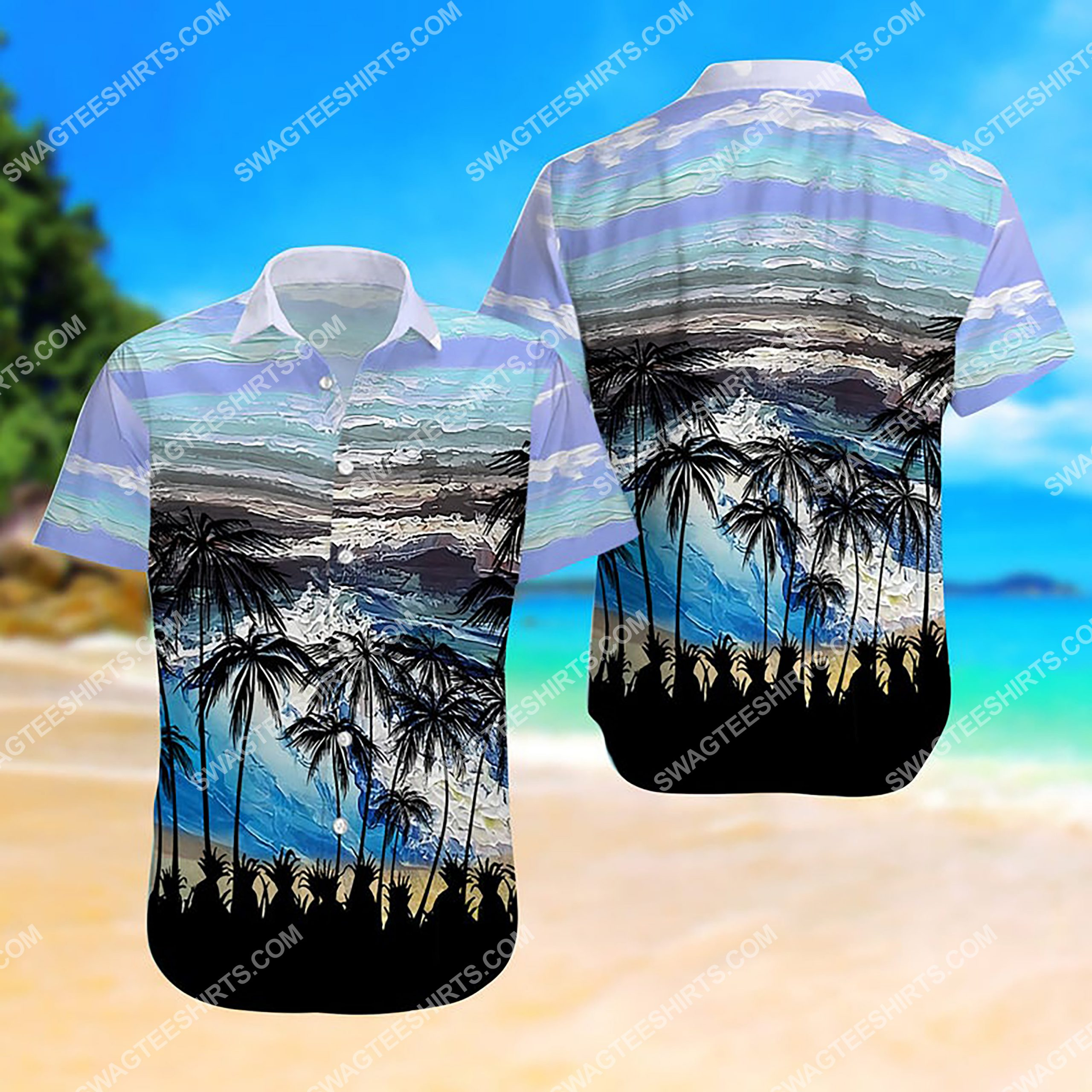 summer time ocean and palm tree all over print hawaiian shirt 3 - Copy