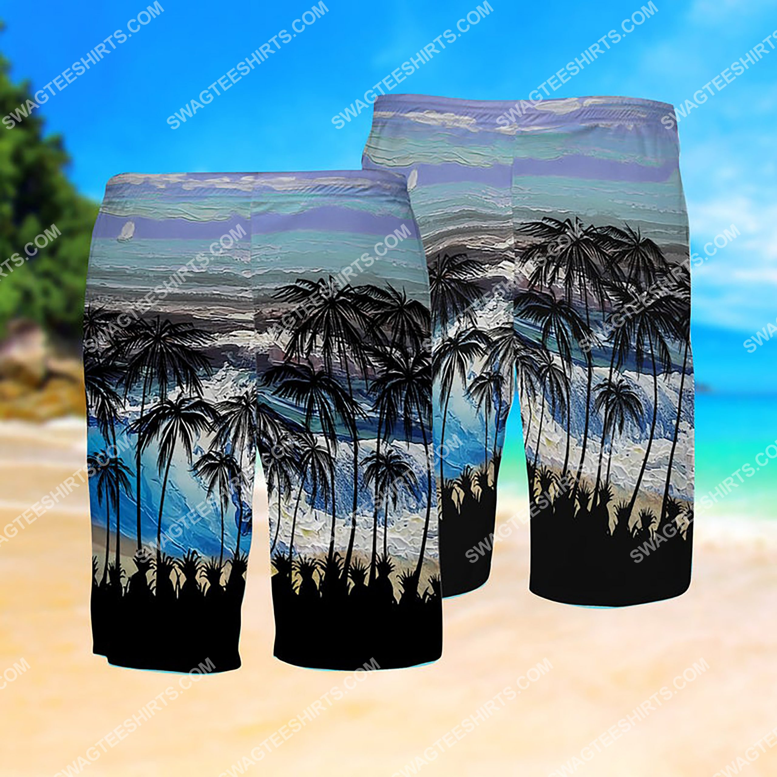 summer time ocean and palm tree all over print hawaiian shorts 1