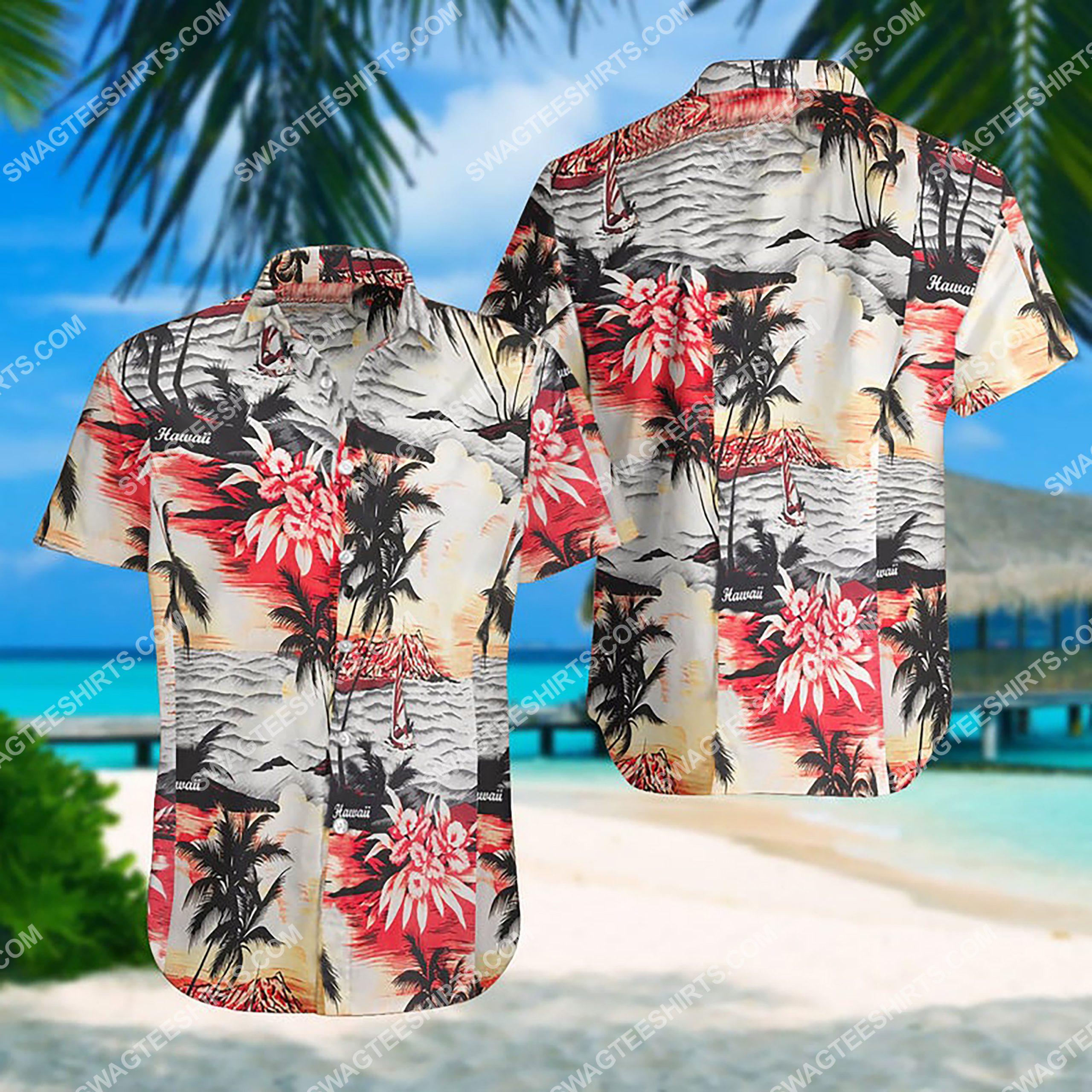 summer time ocean coast all over print hawaiian shirt 3