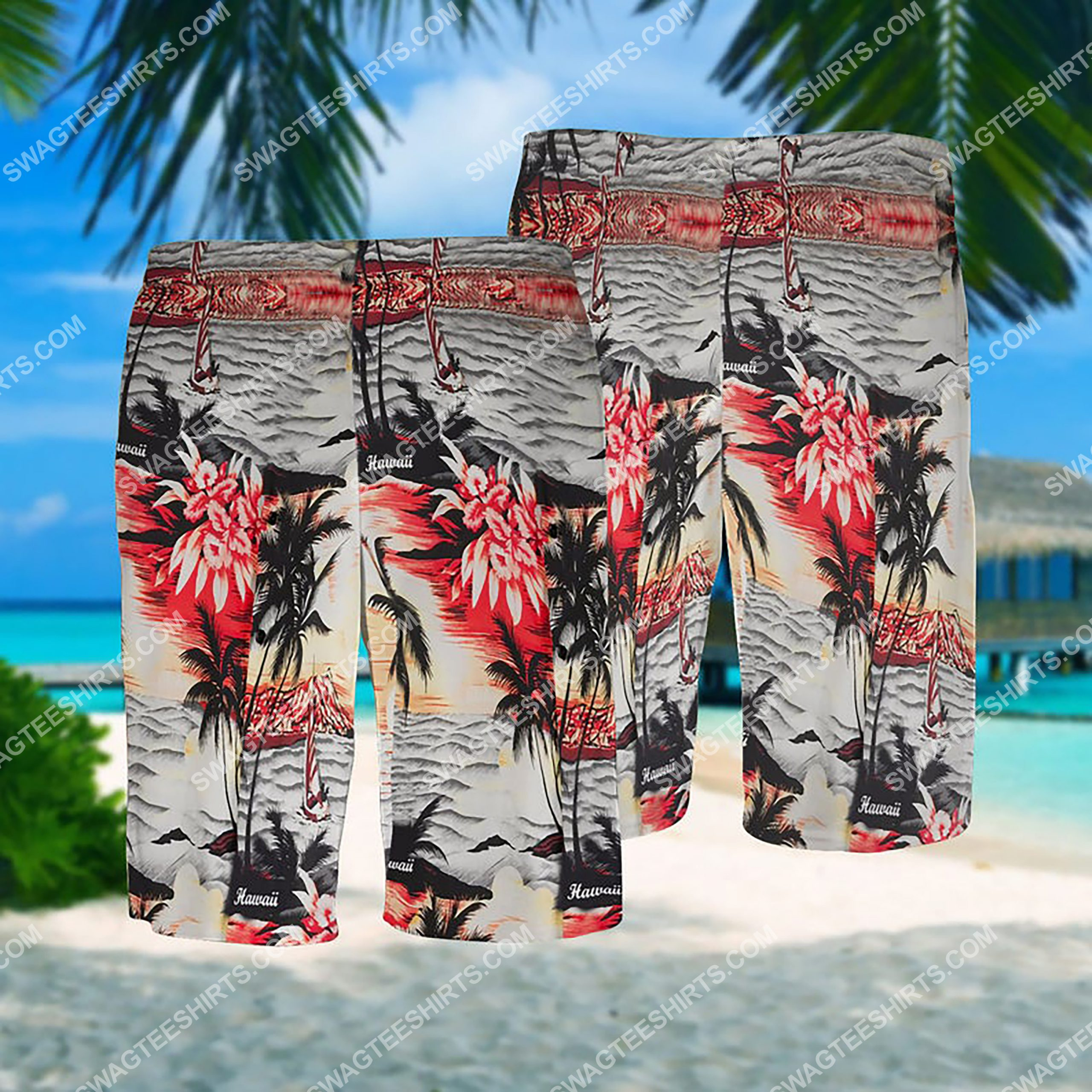 summer time ocean coast all over print hawaiian shorts 1