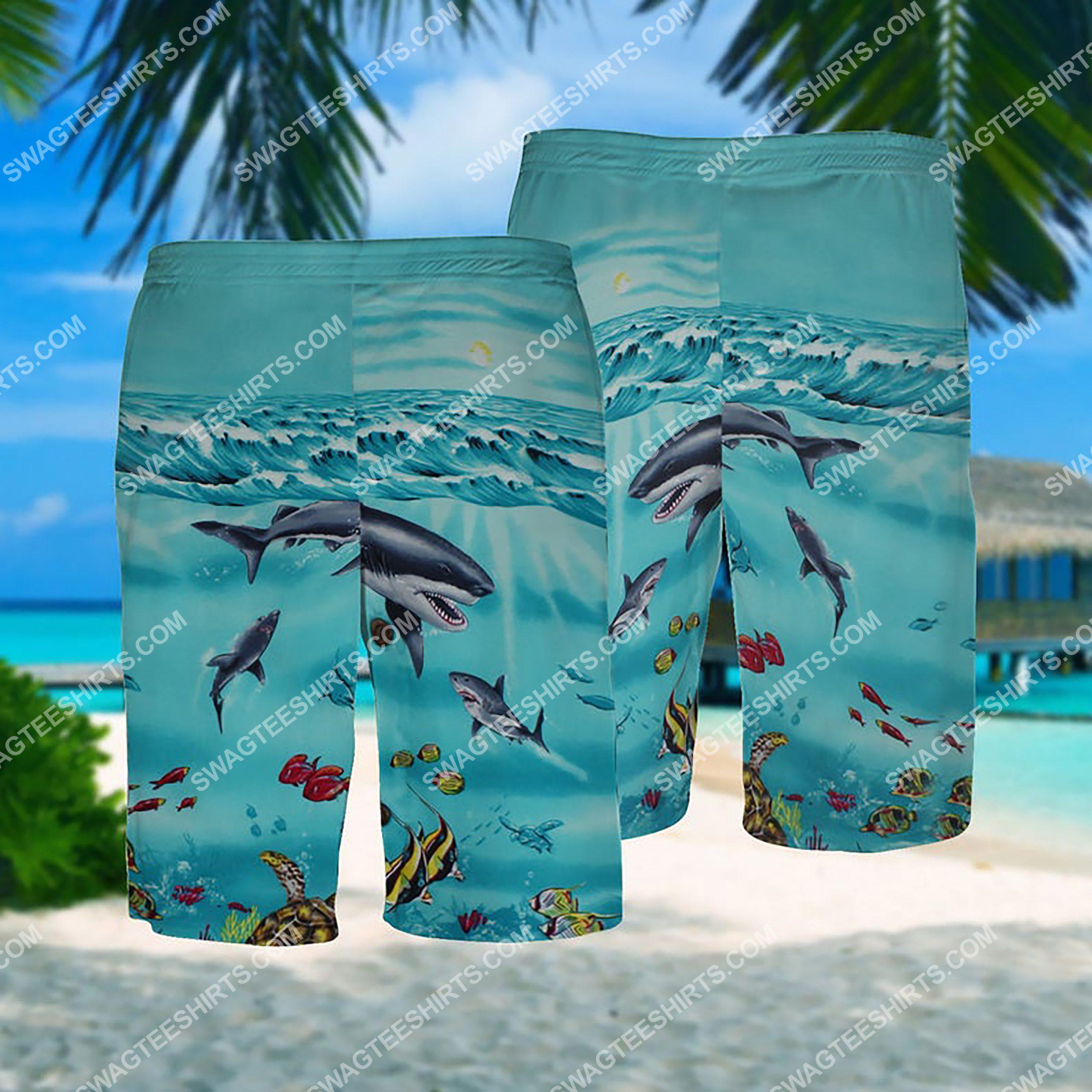 summer time sea shark all over print hawaiian shorts 1