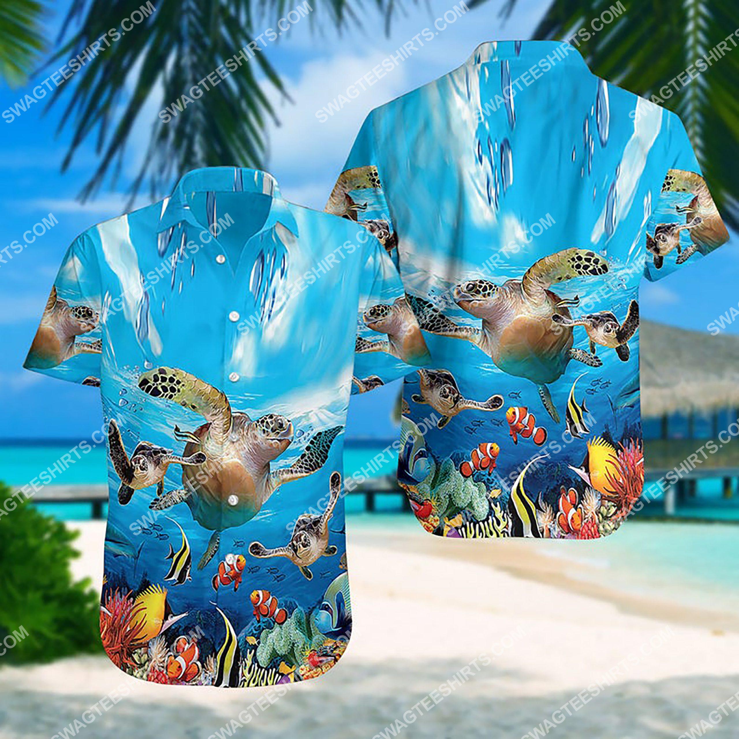 summer time sea turtle all over print hawaiian shirt 3