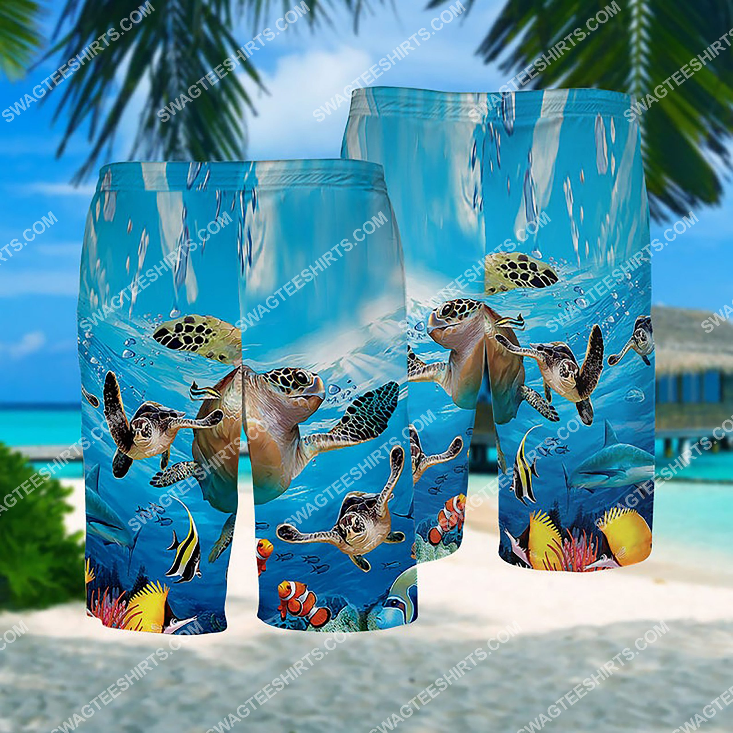 summer time sea turtle all over print hawaiian shorts 1