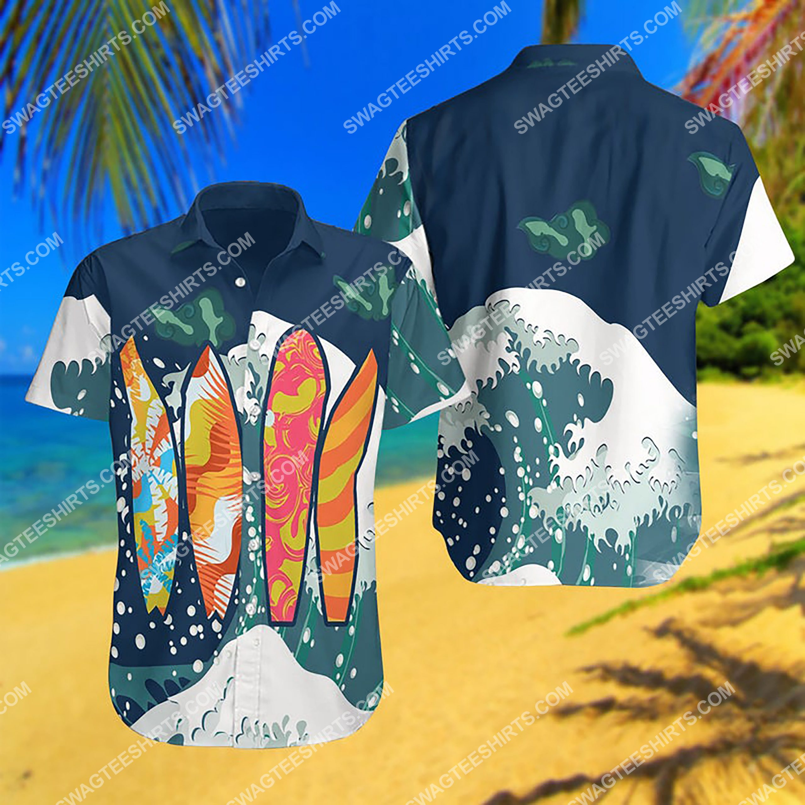 summer time surfing all over print hawaiian shirt 3 - Copy