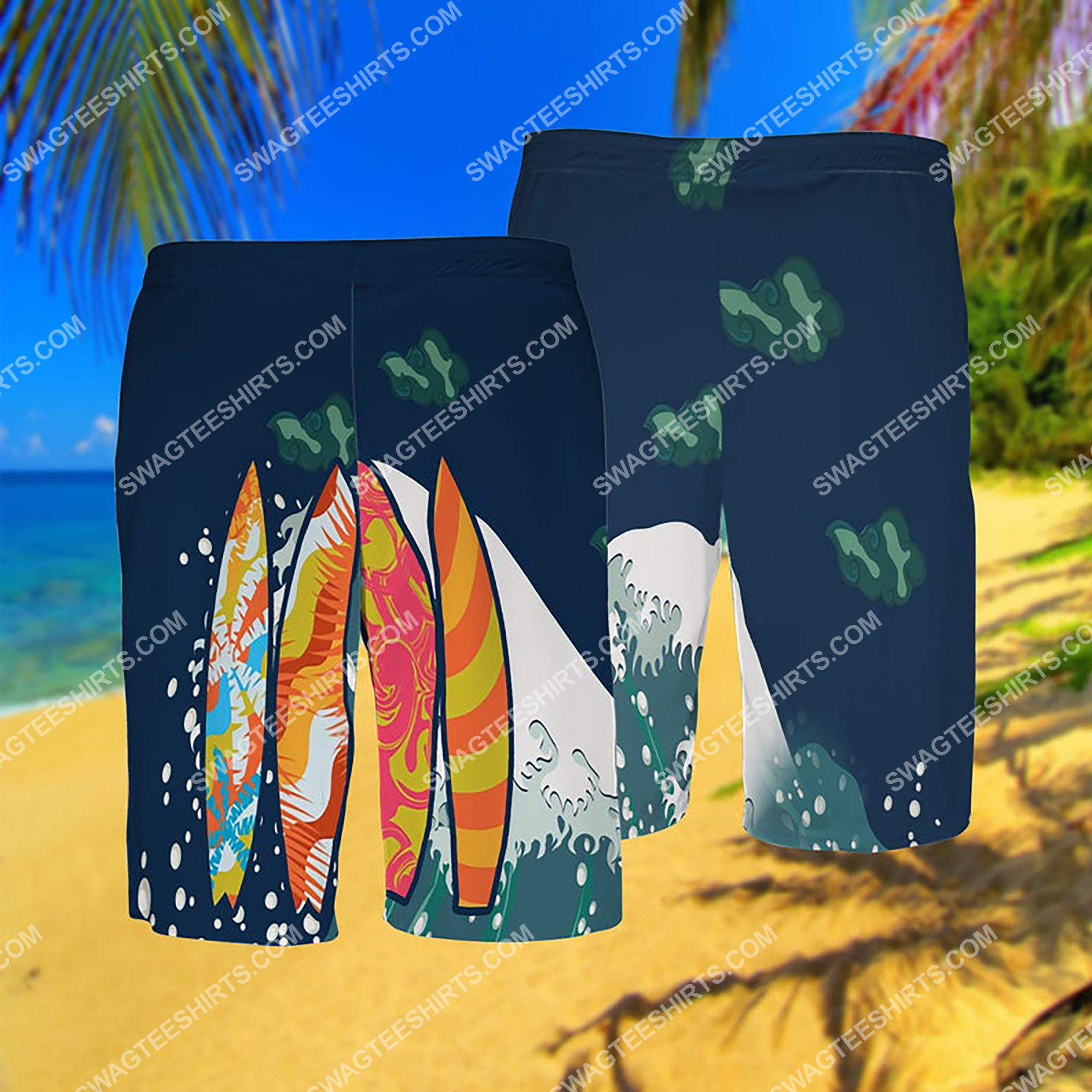 summer time surfing all over print hawaiian shorts 1