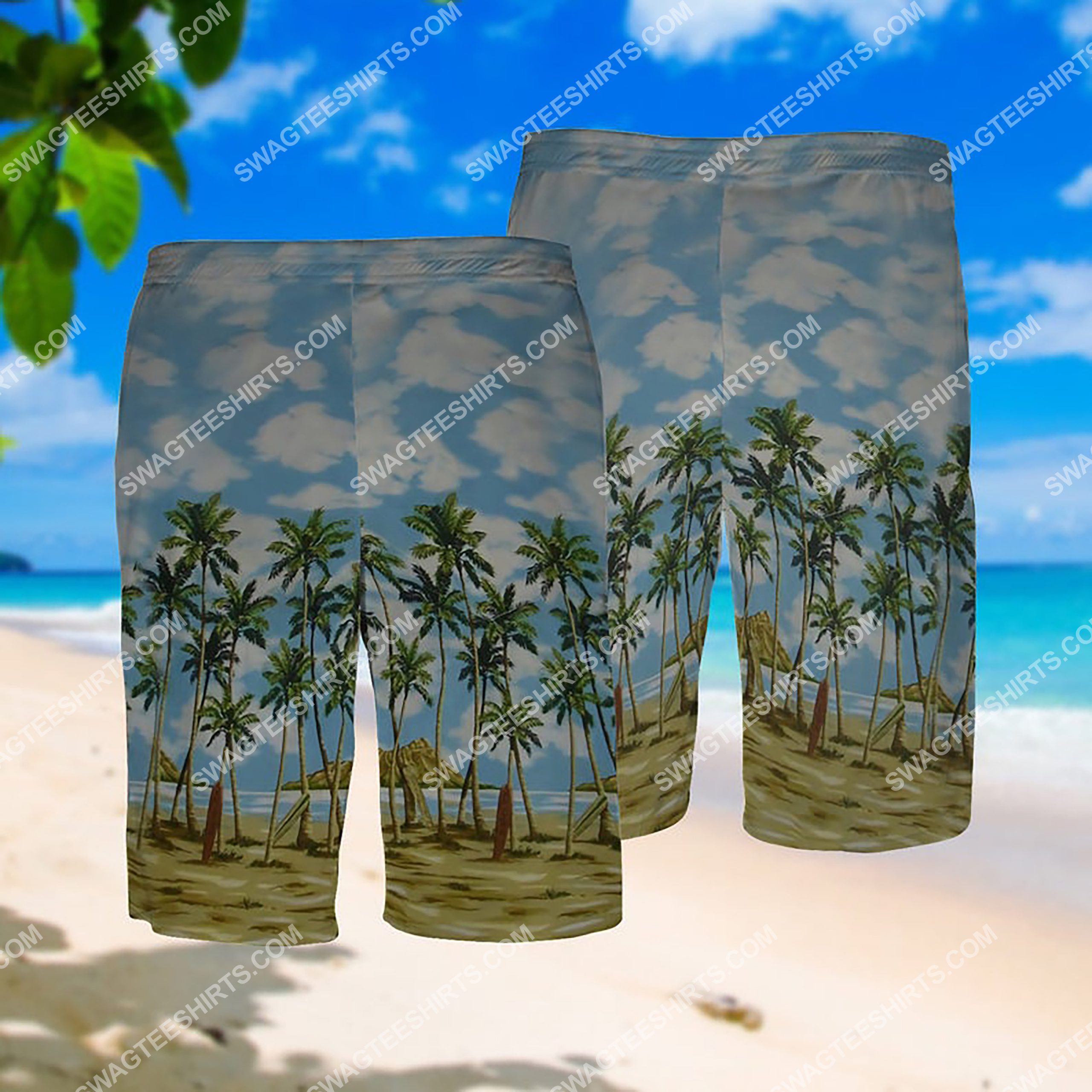 summer time the beach all over print hawaiian shorts 1
