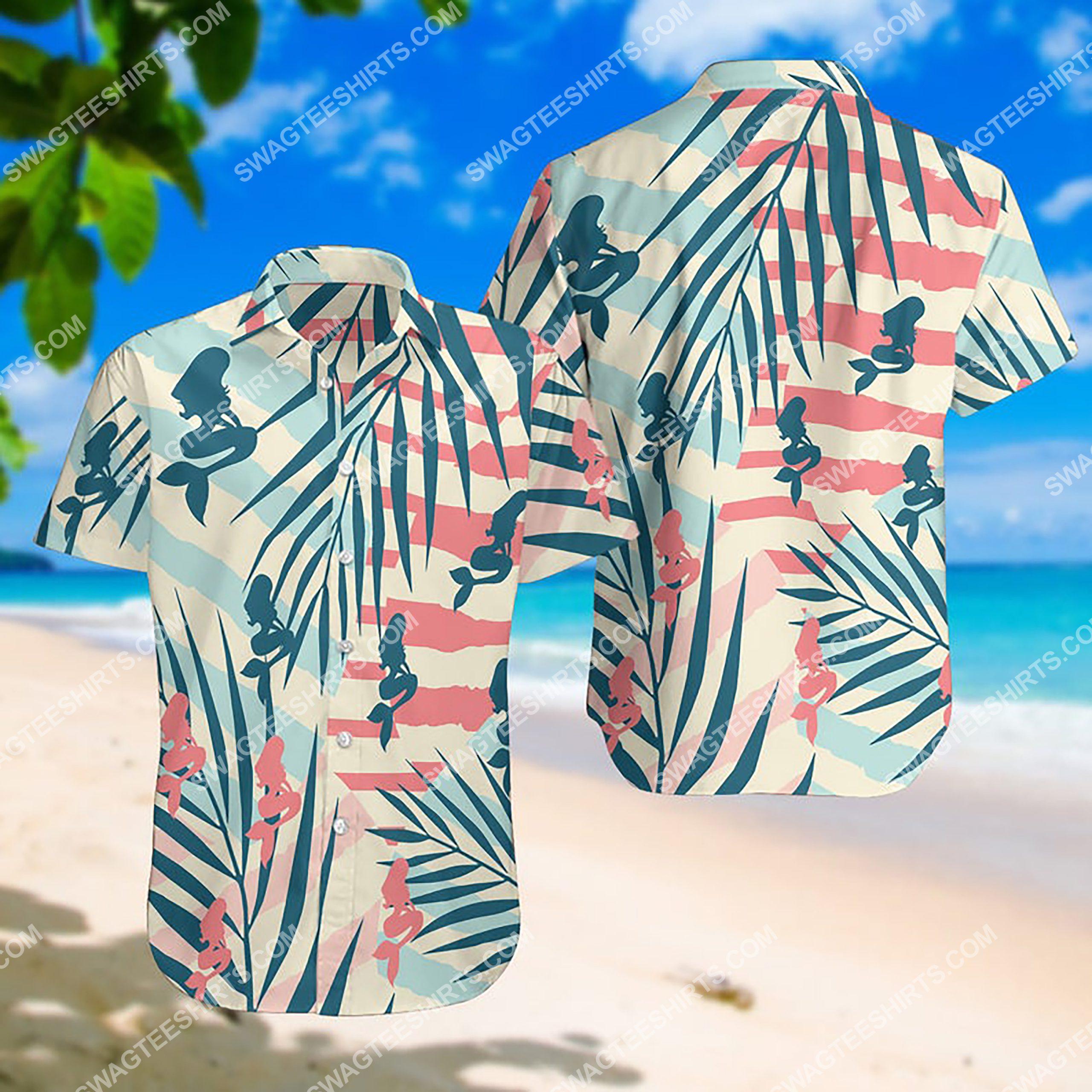summer time the mermaid all over print hawaiian shirt 3