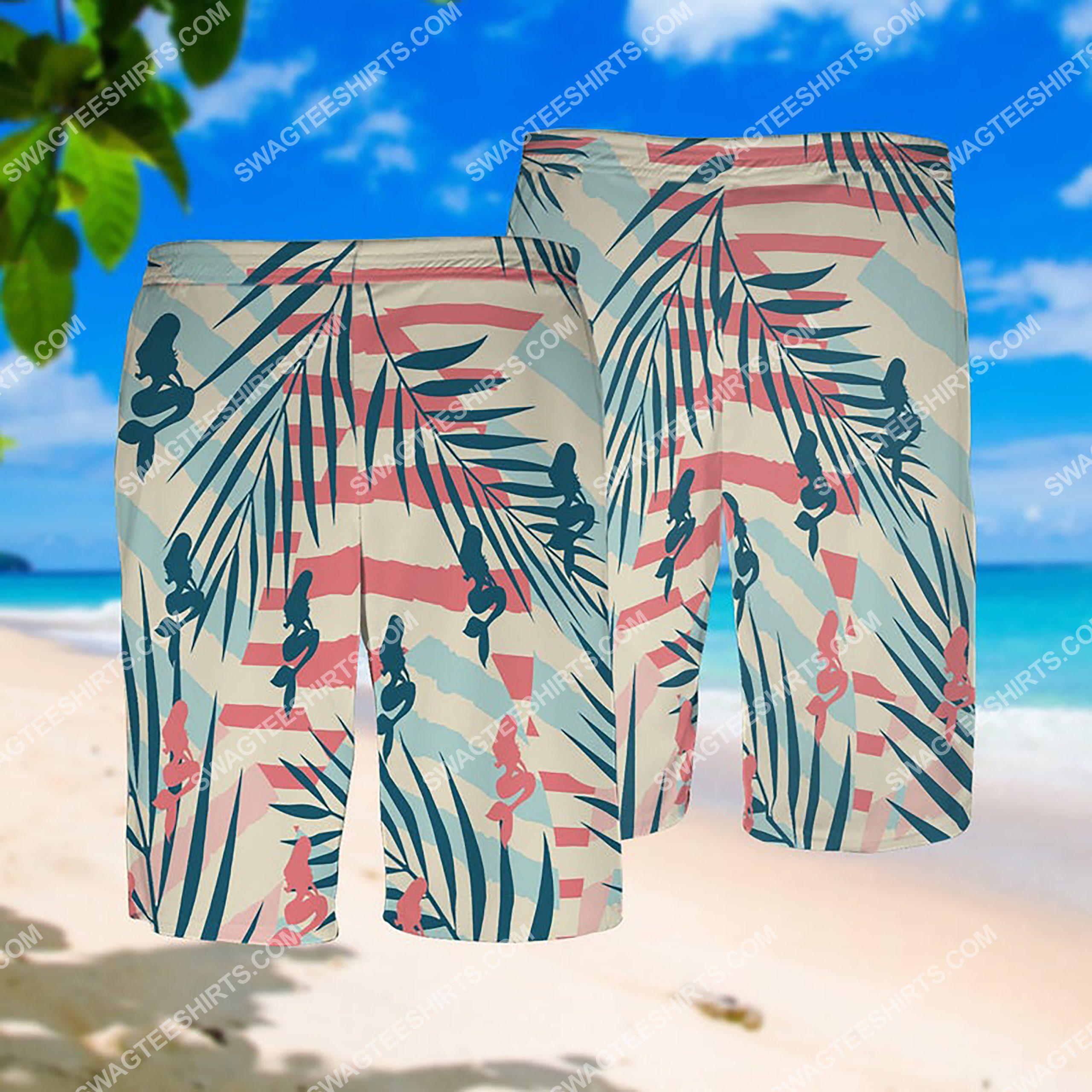 summer time the mermaid all over print hawaiian shorts 1