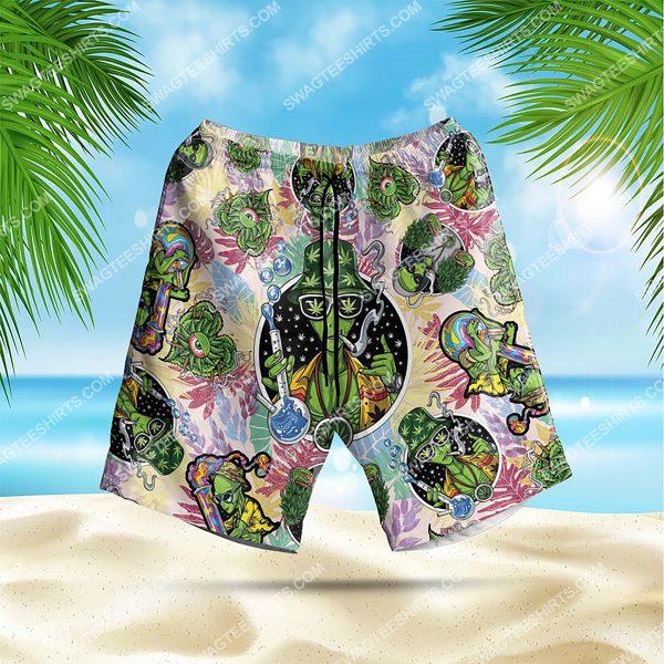 summer time tropical alien cannabis all over print hawaiian shorts 1