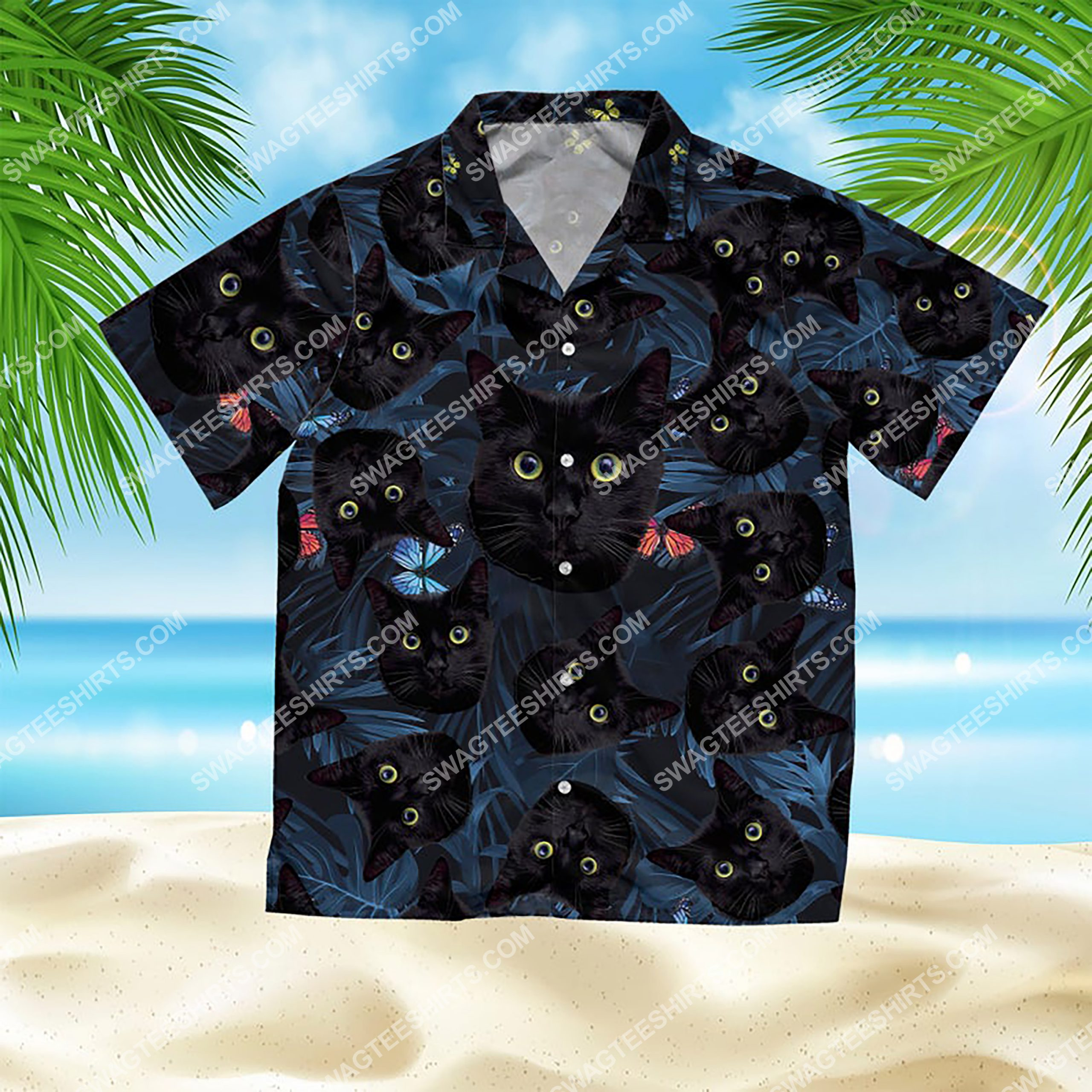 summer time tropical black cat all over print hawaiian shirt 2(1)
