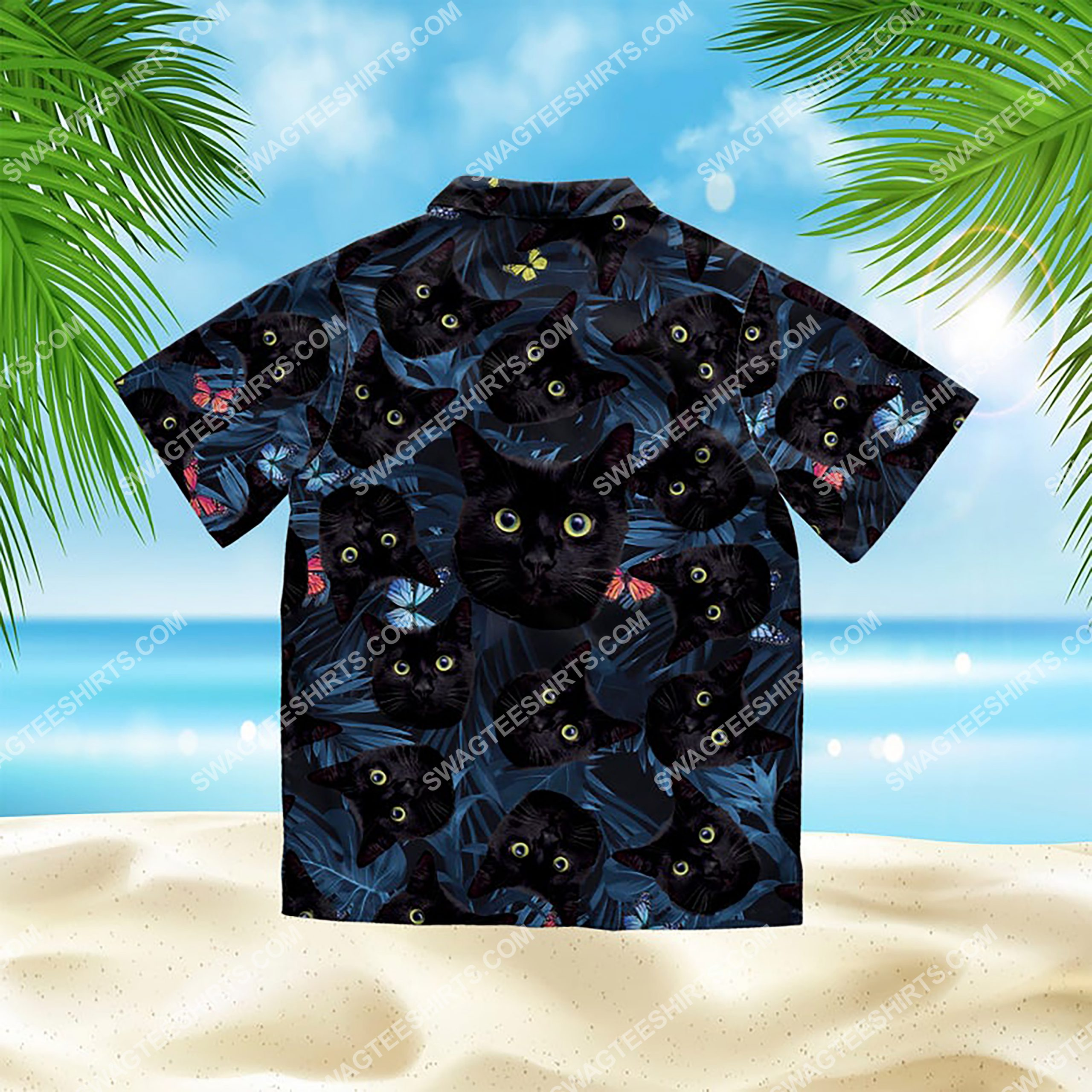 summer time tropical black cat all over print hawaiian shirt 3(1)