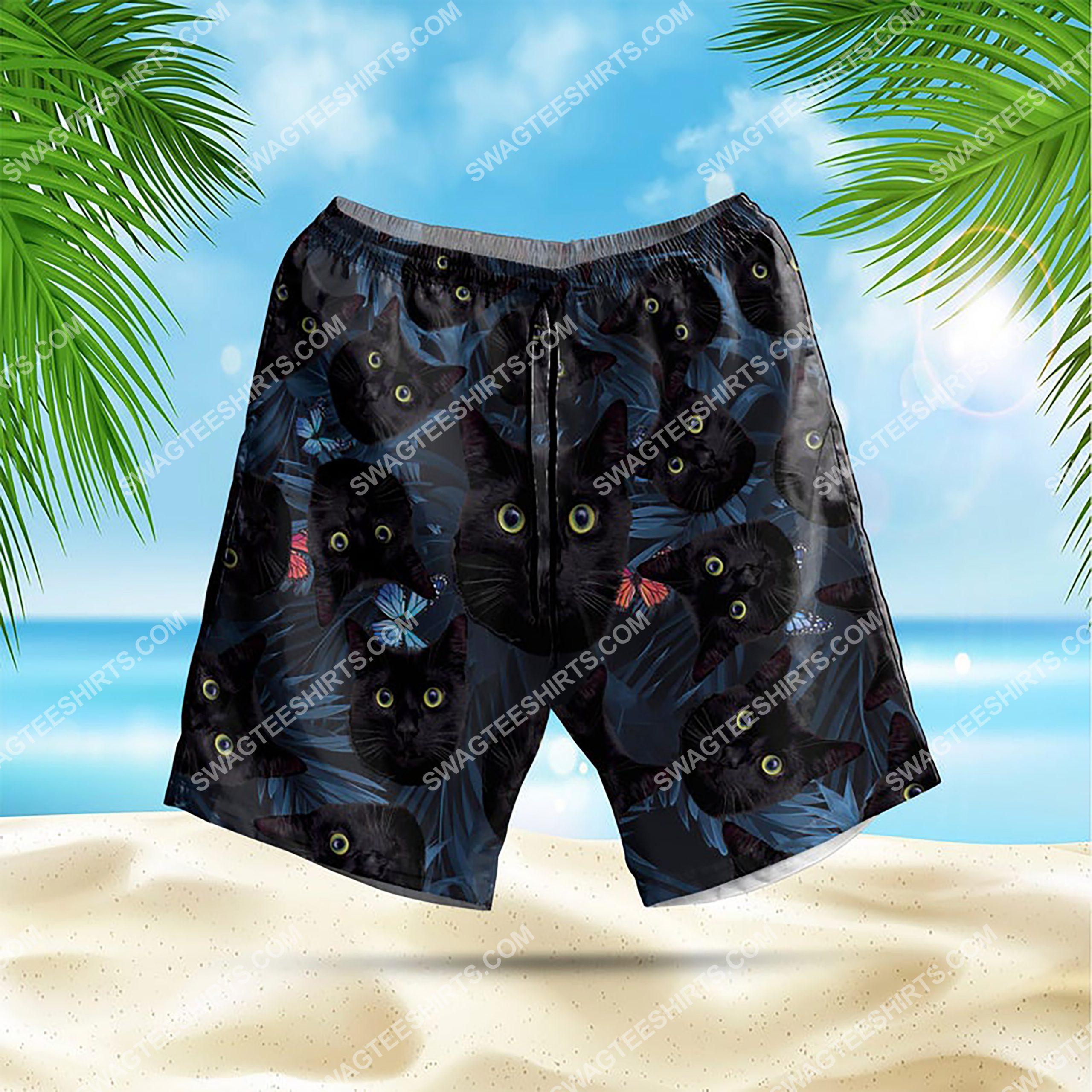 summer time tropical black cat all over print hawaiian shorts 1
