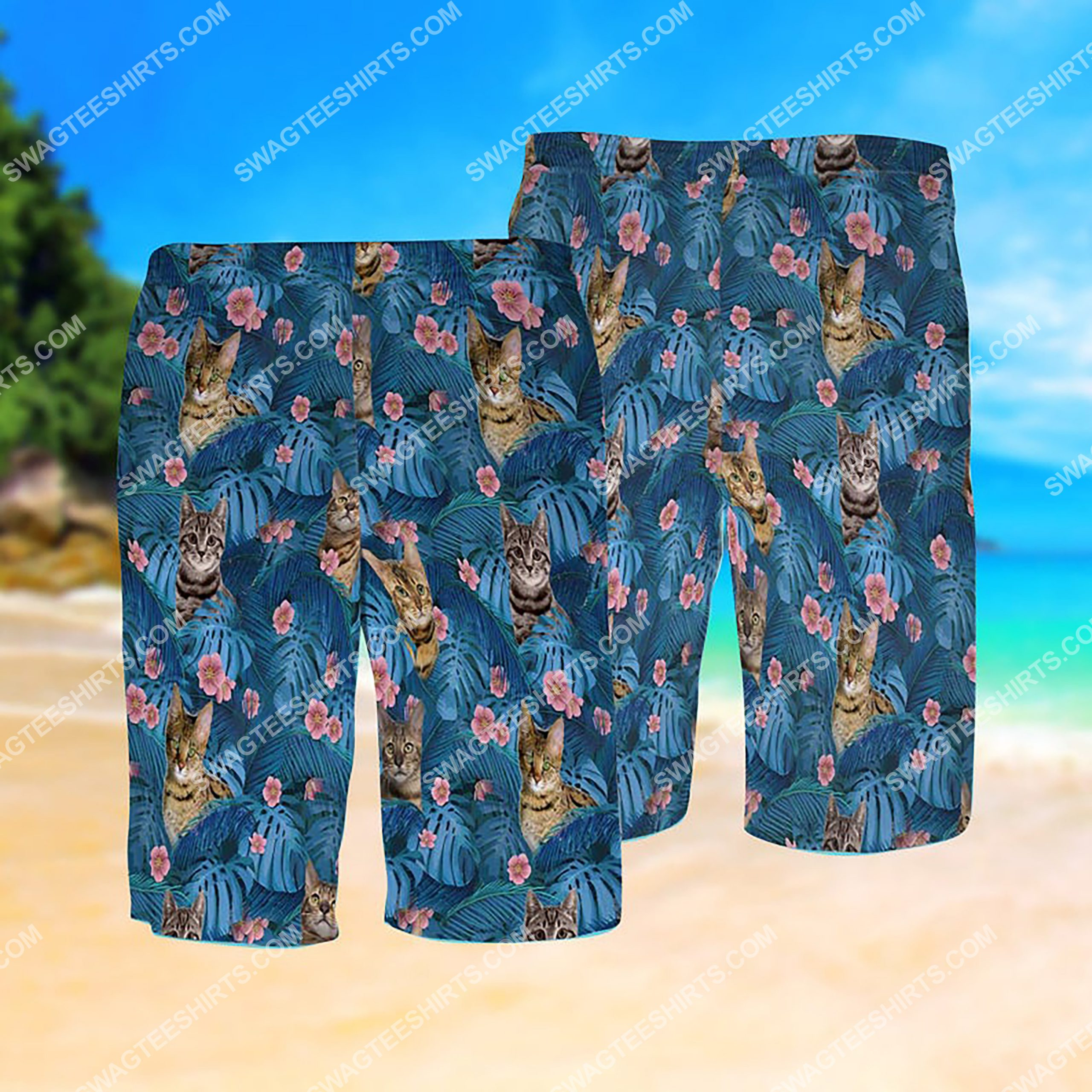 summer time tropical cat all over print hawaiian shorts 1