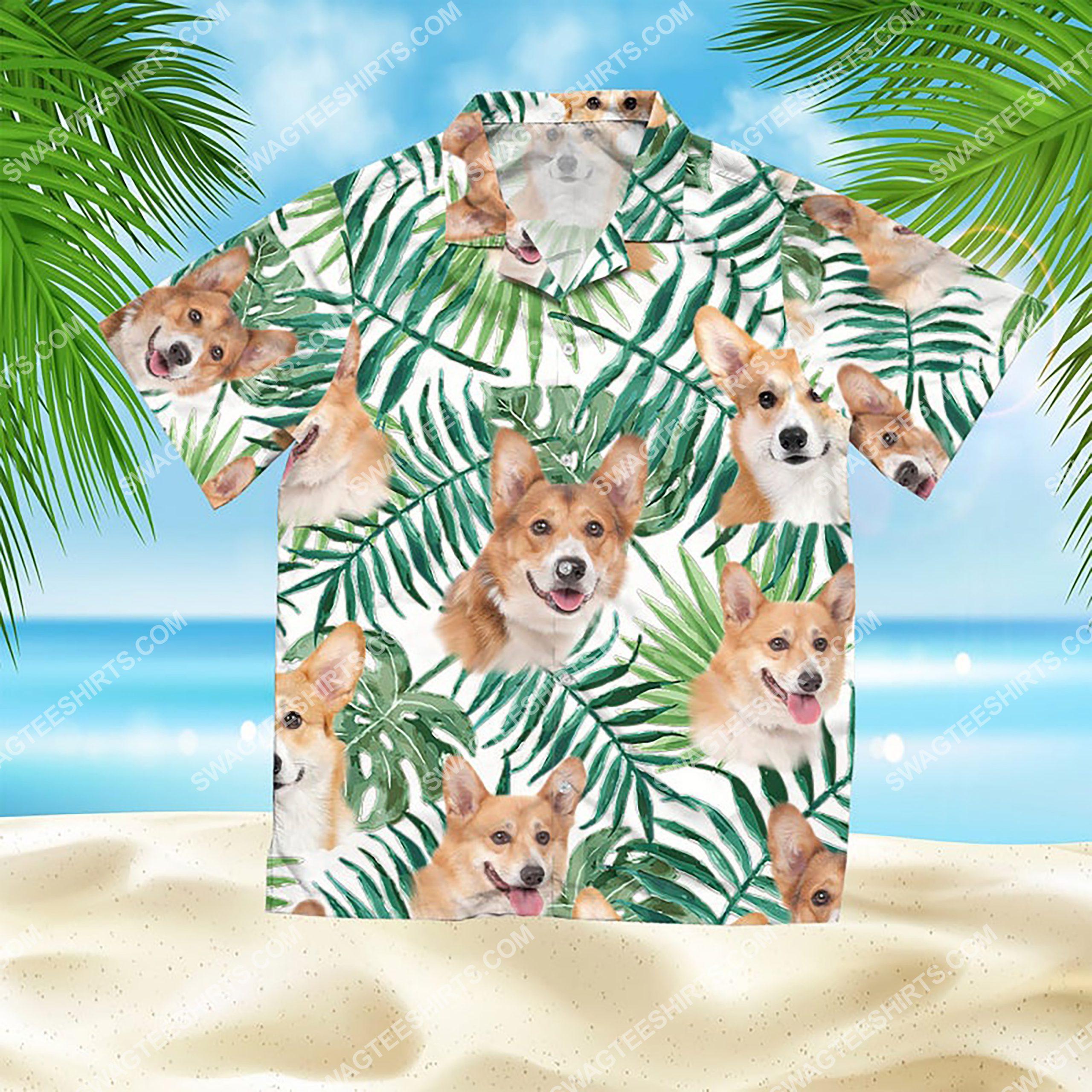 summer time tropical corgi all over print hawaiian shirt 2(1)