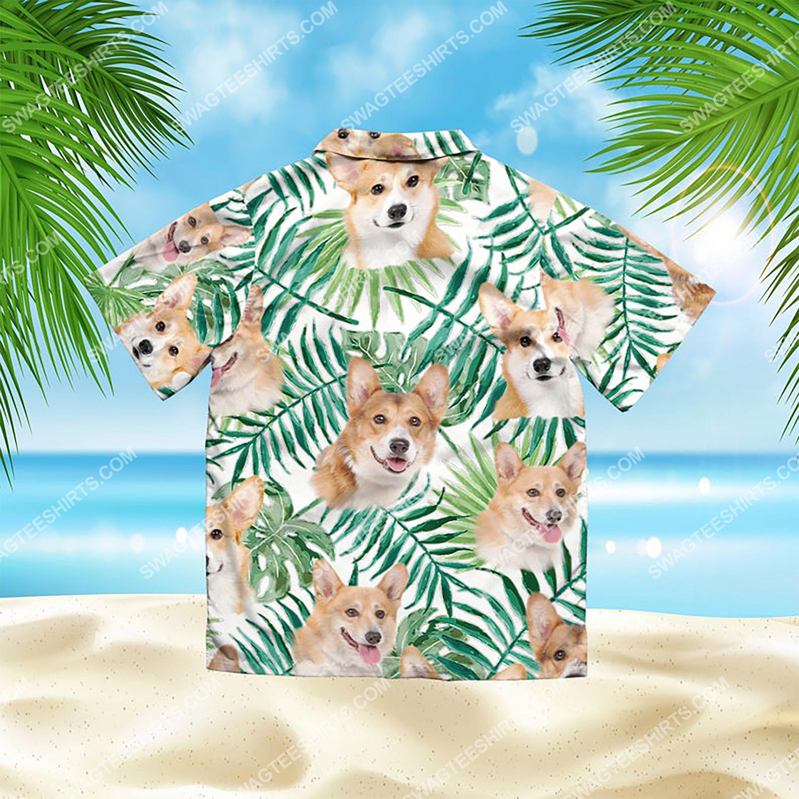 summer time tropical corgi all over print hawaiian shirt 3(1)