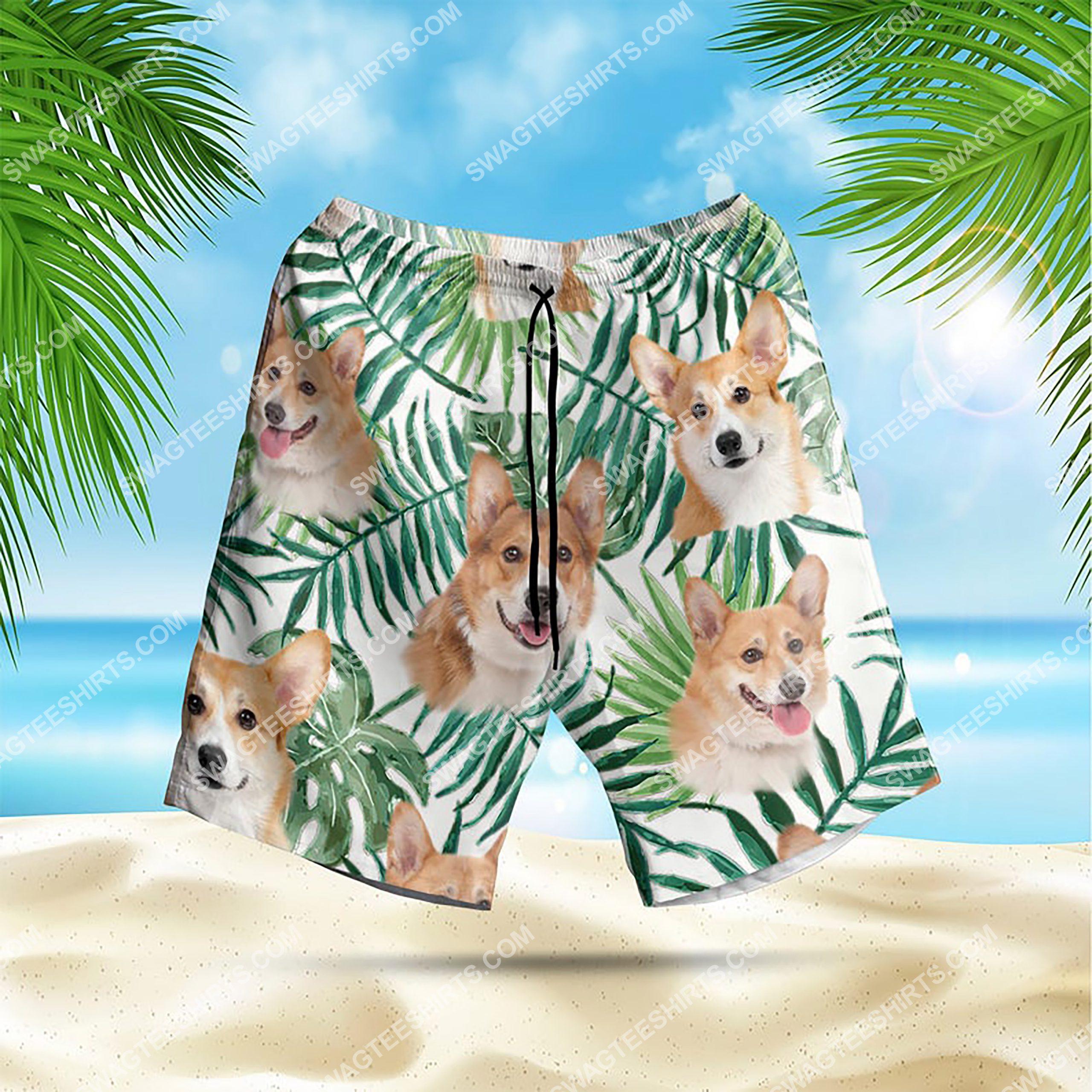 summer time tropical corgi all over print hawaiian shorts 1