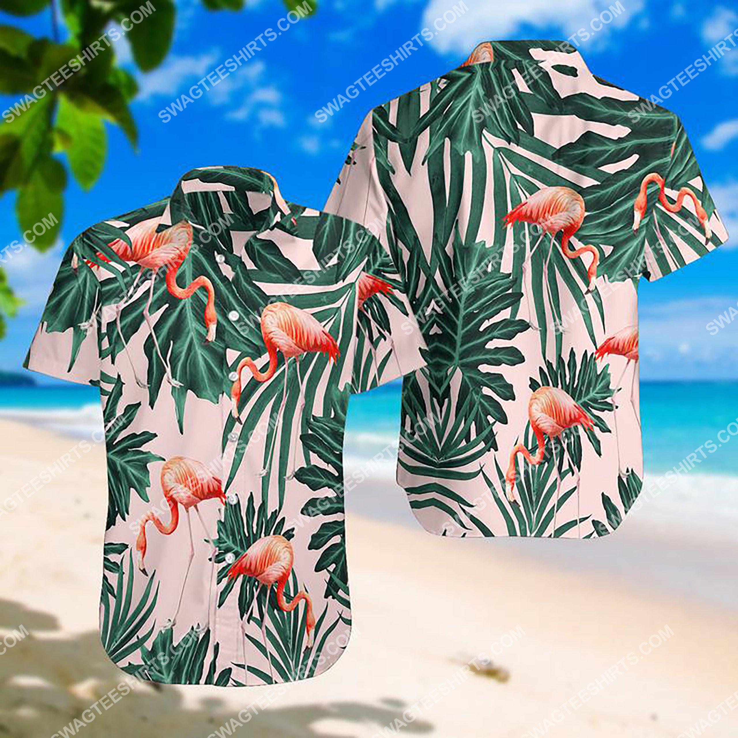 summer time tropical flamingo all over print hawaiian shirt 3