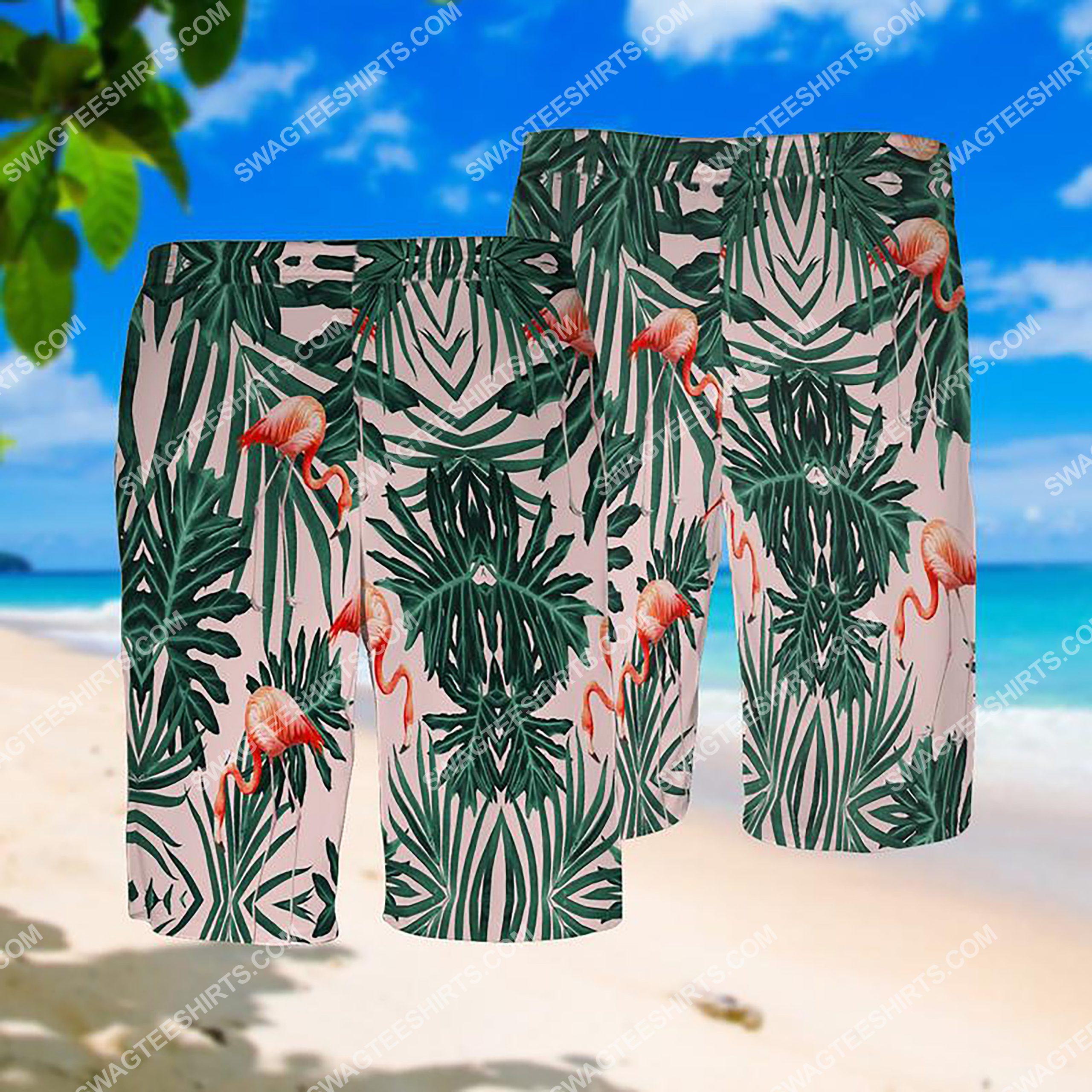 summer time tropical flamingo all over print hawaiian shorts 1