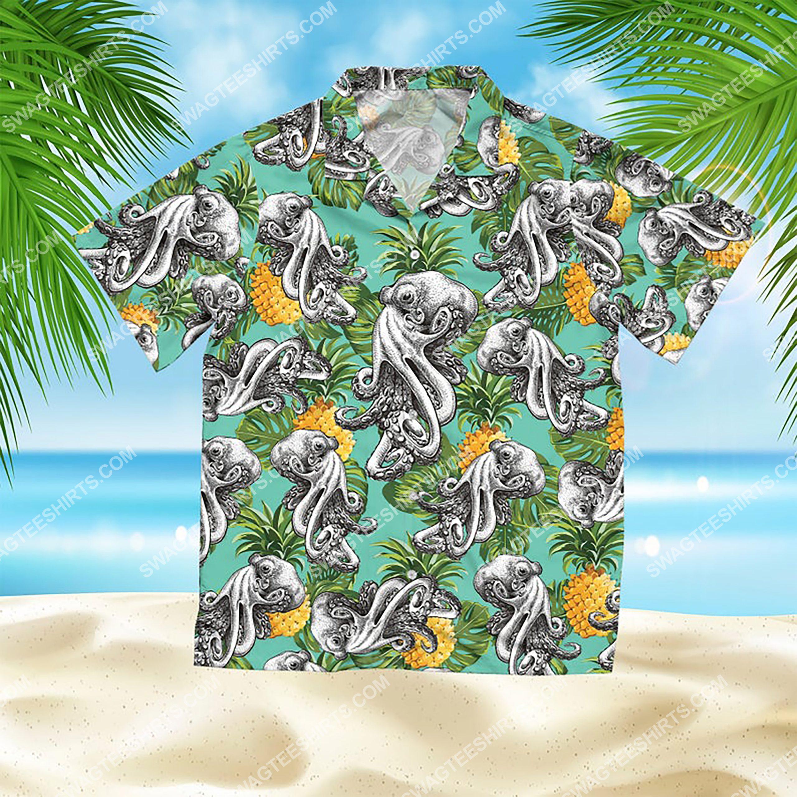 summer time tropical octopus all over print hawaiian shirt 2(1)