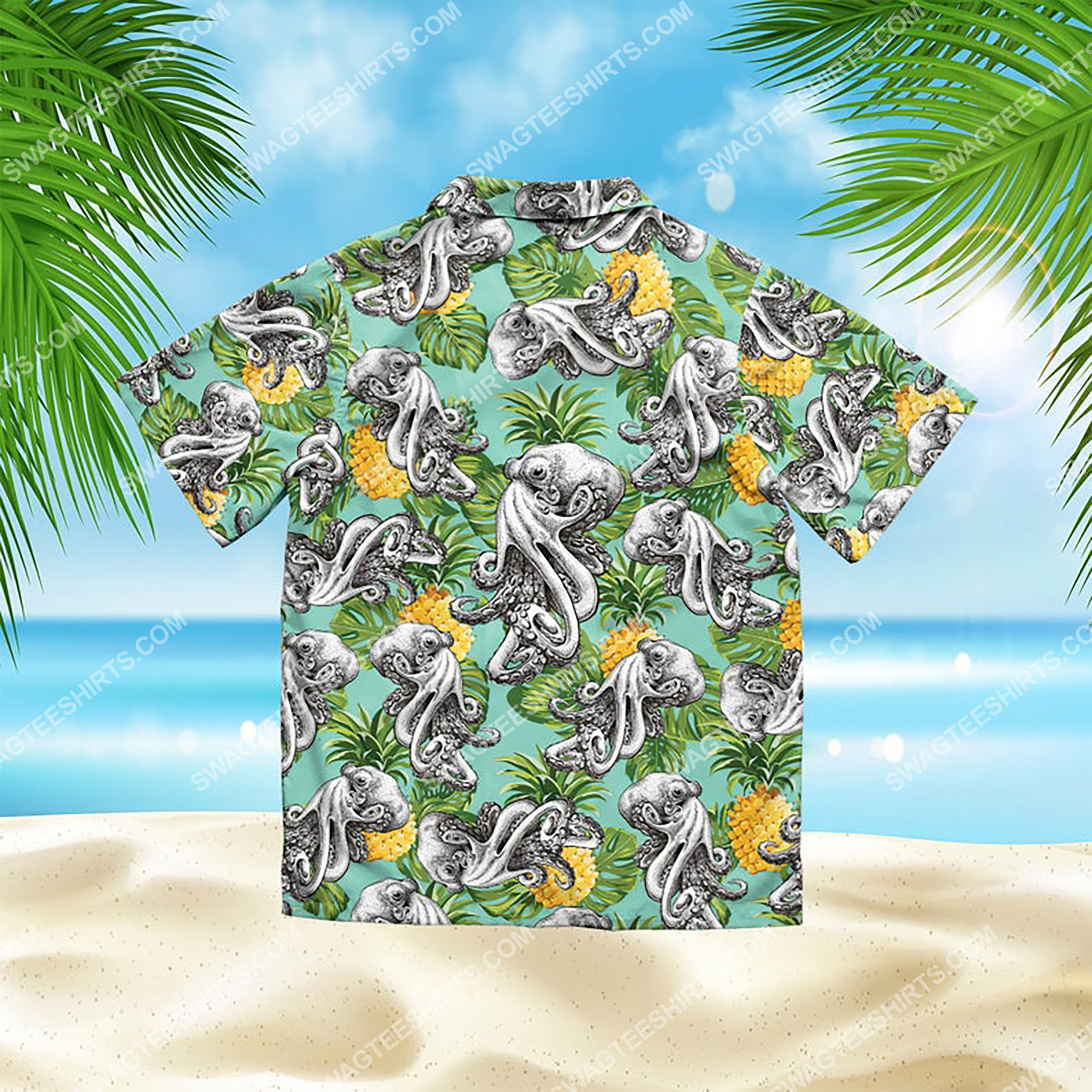 summer time tropical octopus all over print hawaiian shirt 3(1)
