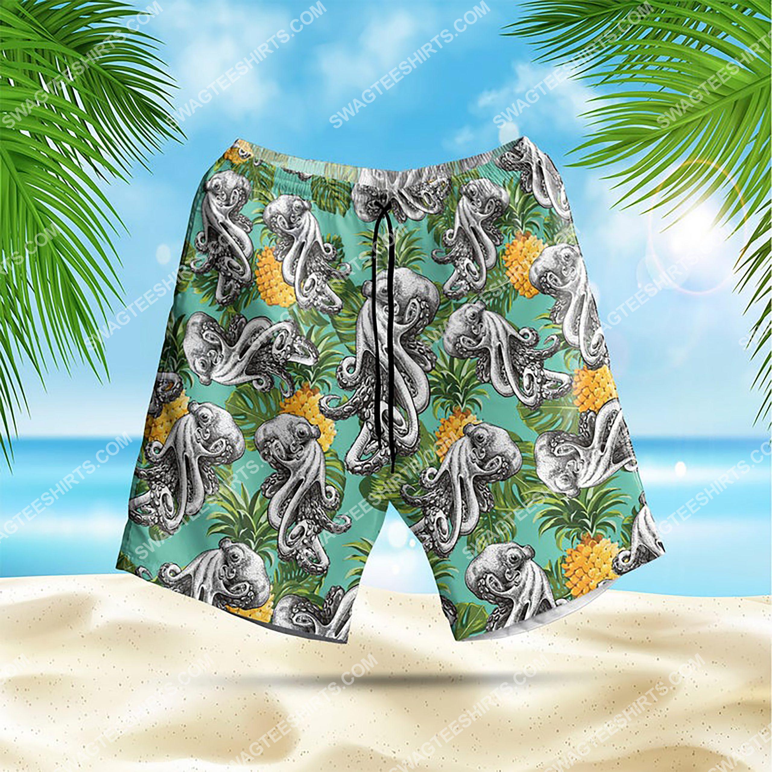 summer time tropical octopus all over print hawaiian shorts 1