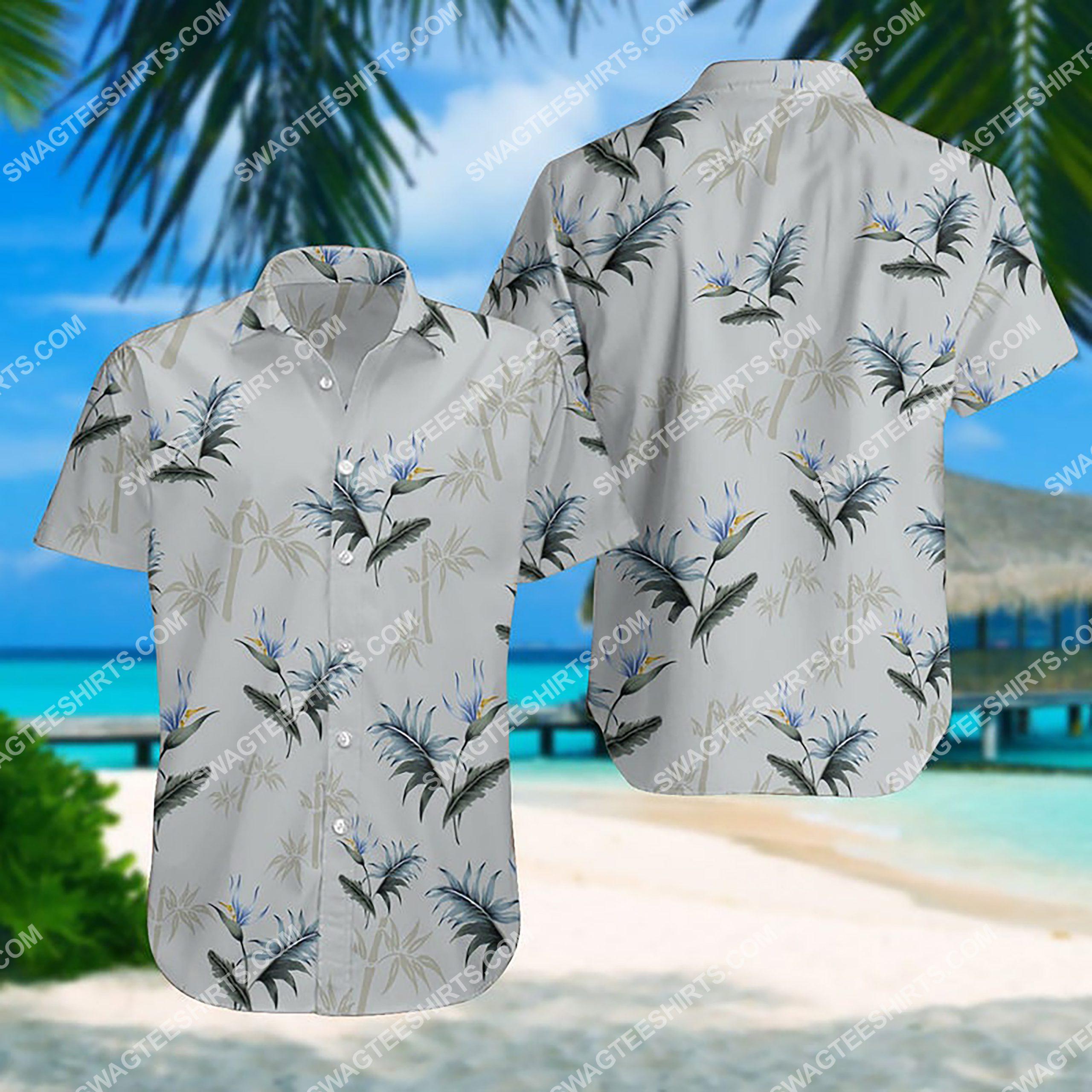 summer time tropical palm all over print hawaiian shirt 3