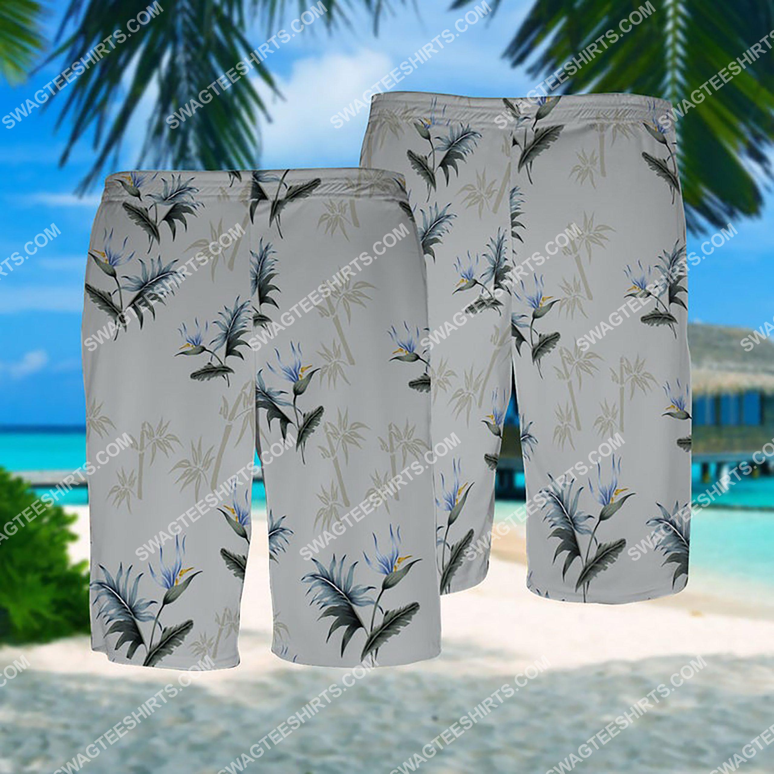 summer time tropical palm all over print hawaiian shorts 1