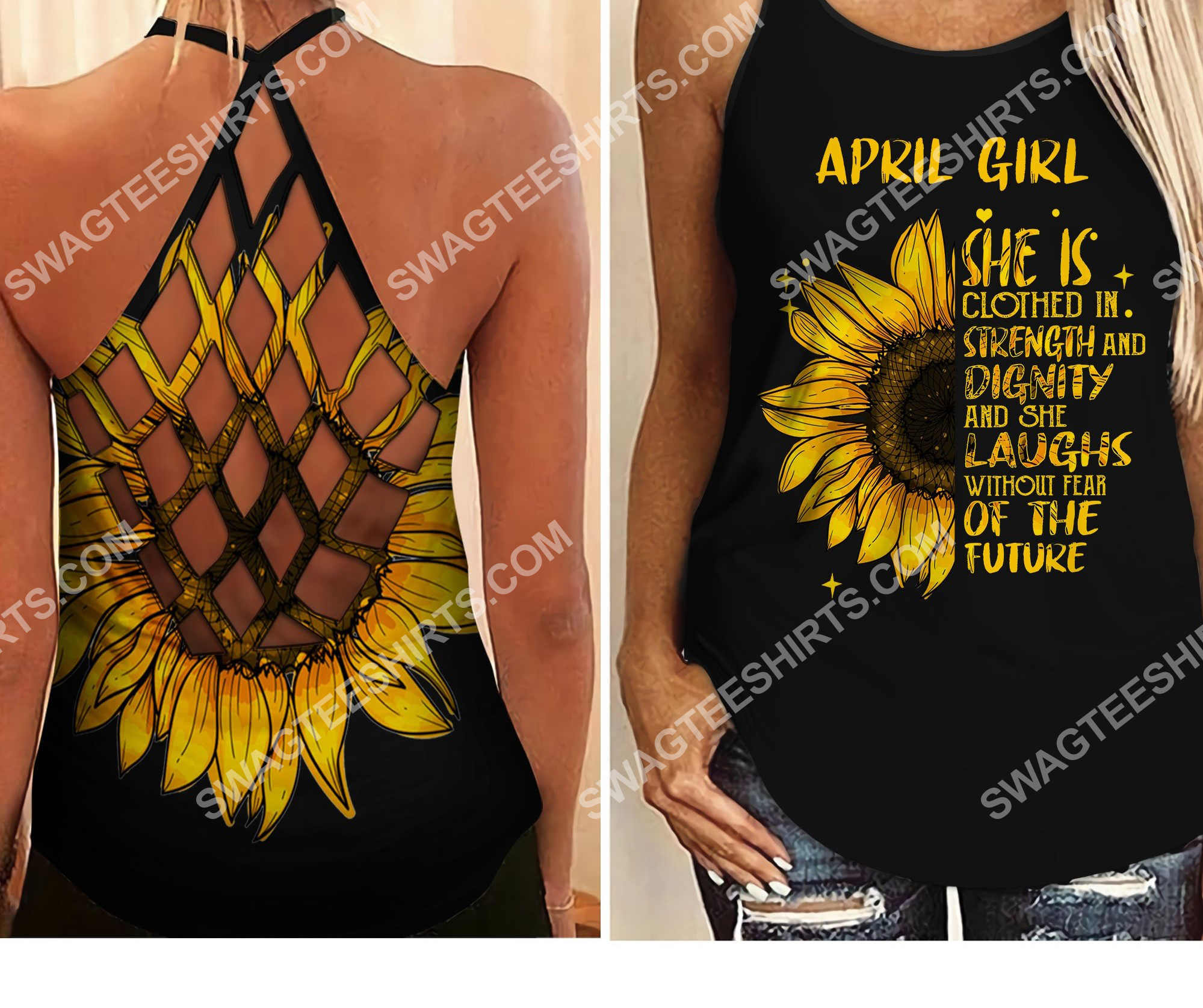 sunflower april girl she is clothed with strength and dignity criss-cross tank top 2