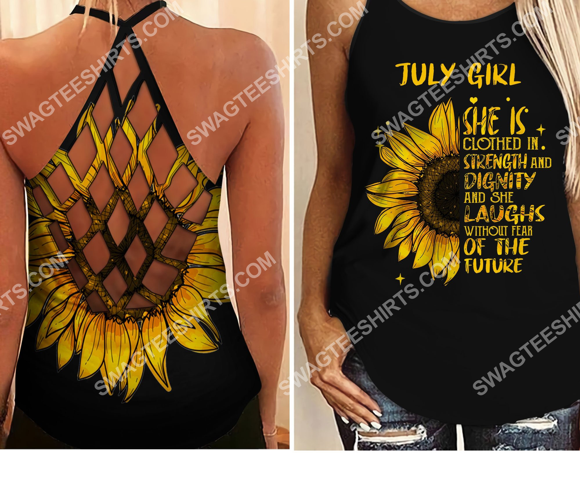 sunflower july girl she is clothed with strength and dignity criss-cross tank top 2