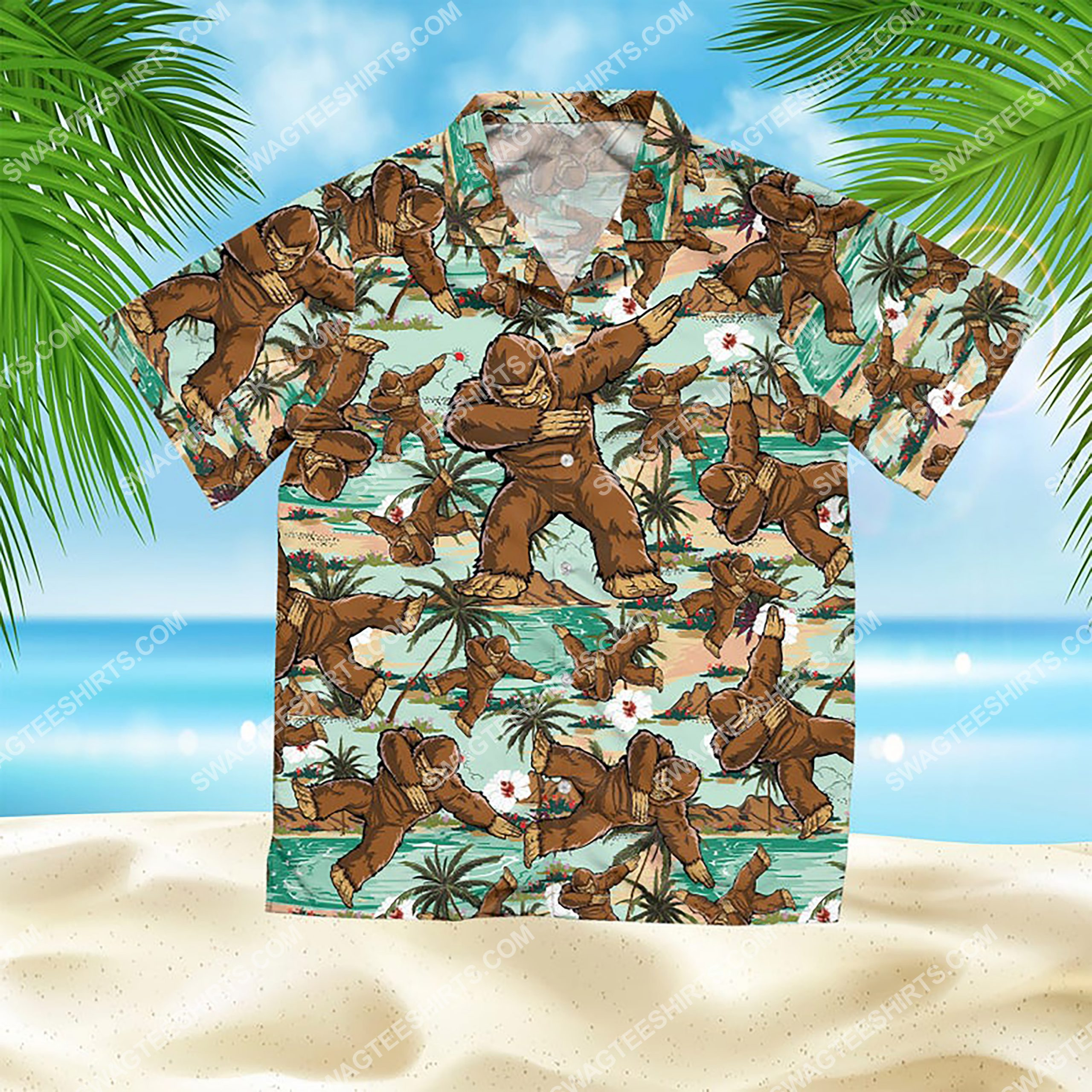 the bigfoot dabbing all over print hawaiian shirt 2(1)