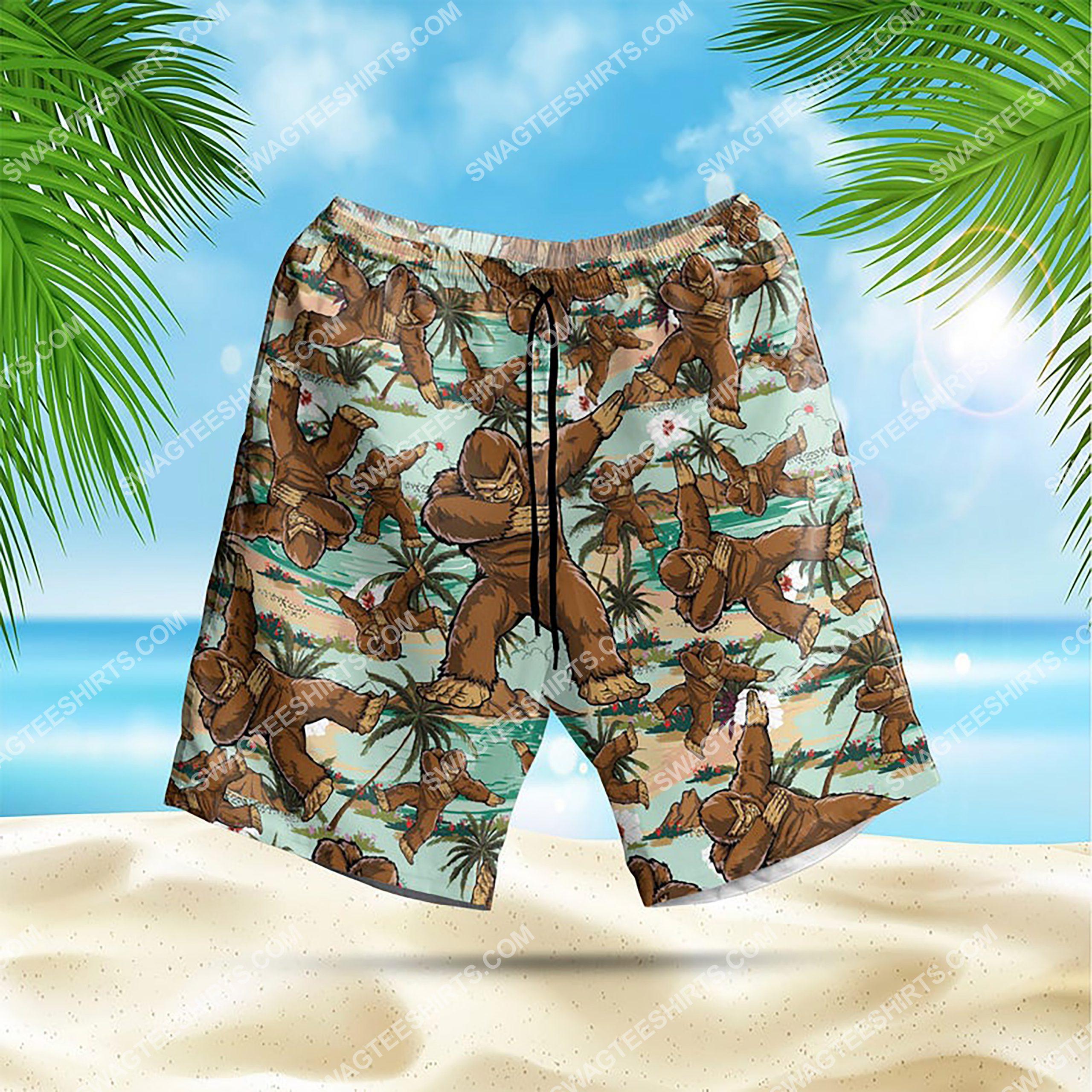 the bigfoot dabbing all over print hawaiian shorts 1
