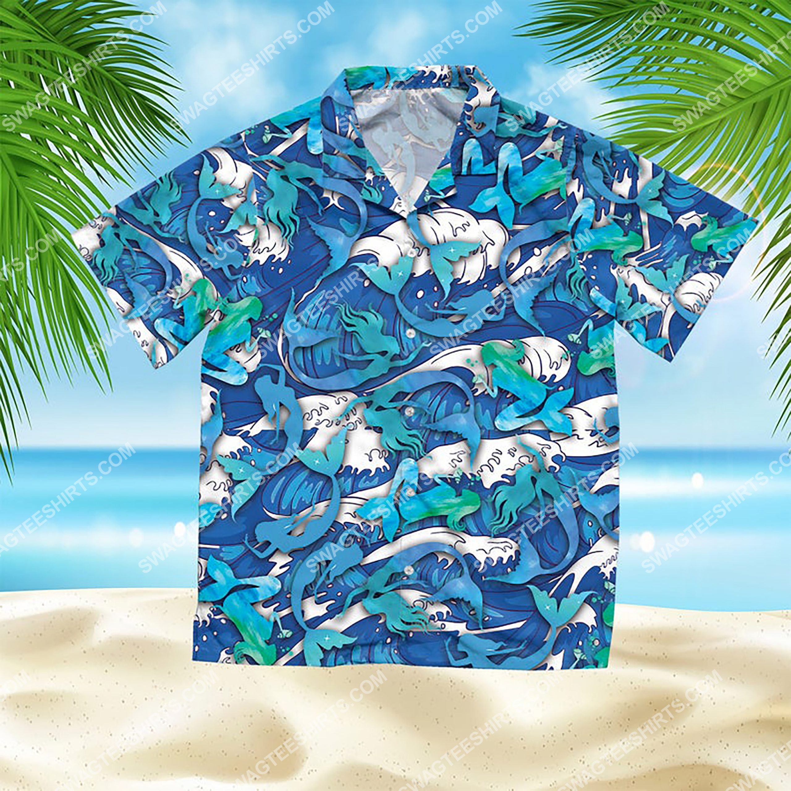 the mermaid summer vacation all over print hawaiian shirt 2(1)