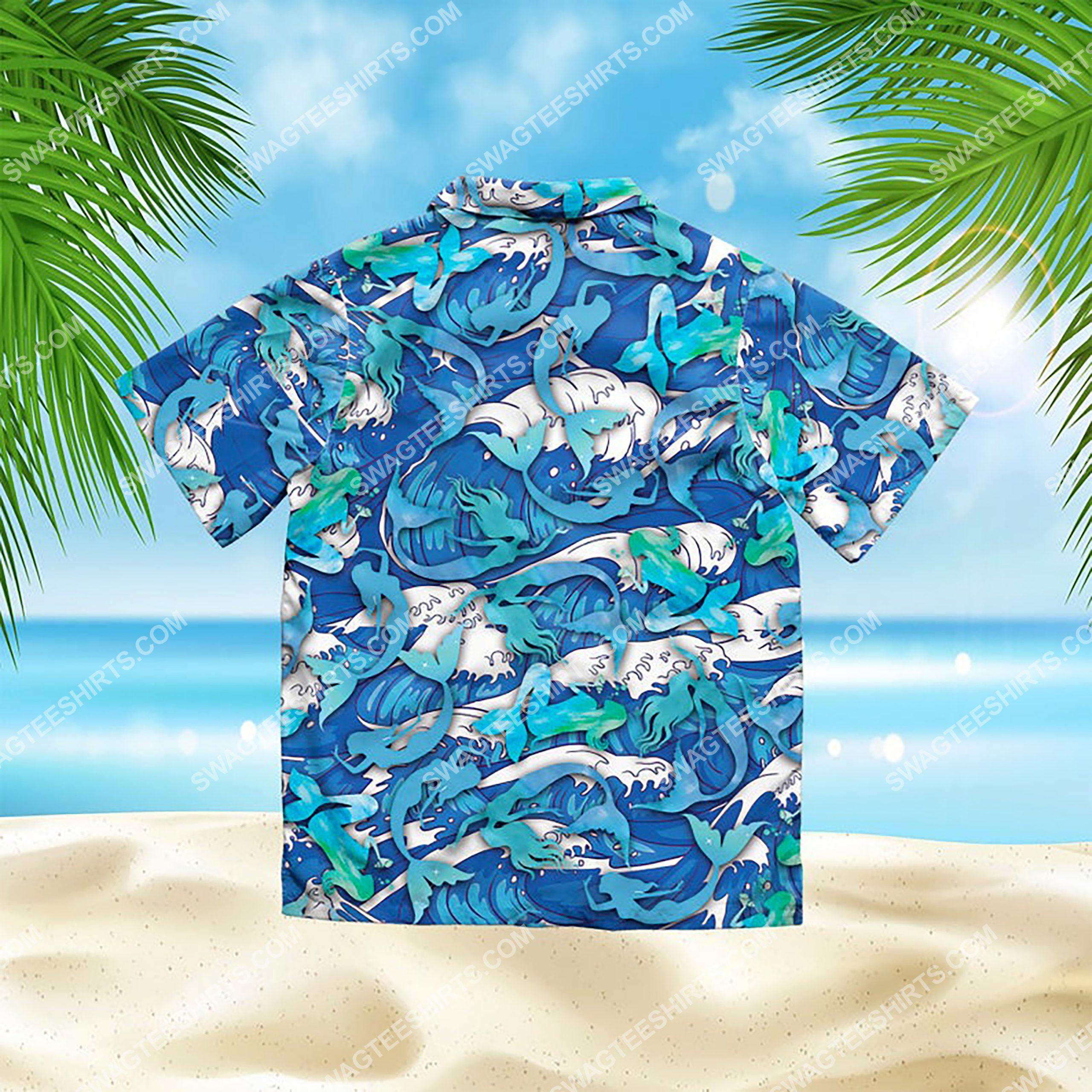 the mermaid summer vacation all over print hawaiian shirt 3(1)