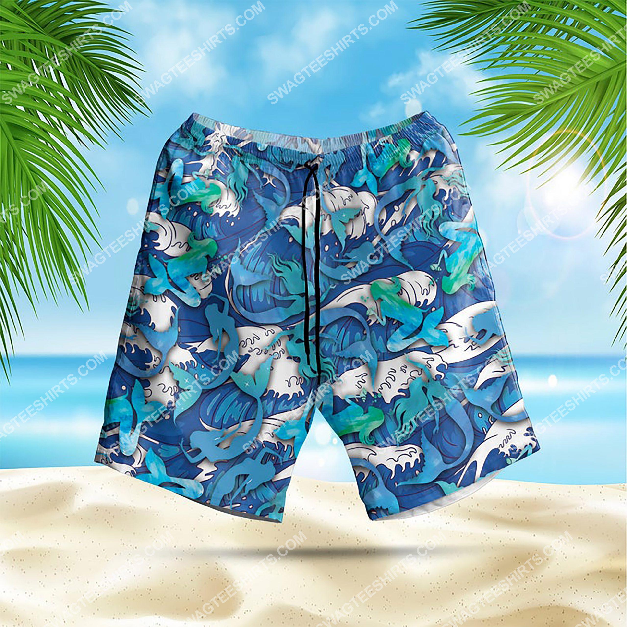 the mermaid summer vacation all over print hawaiian shorts 1