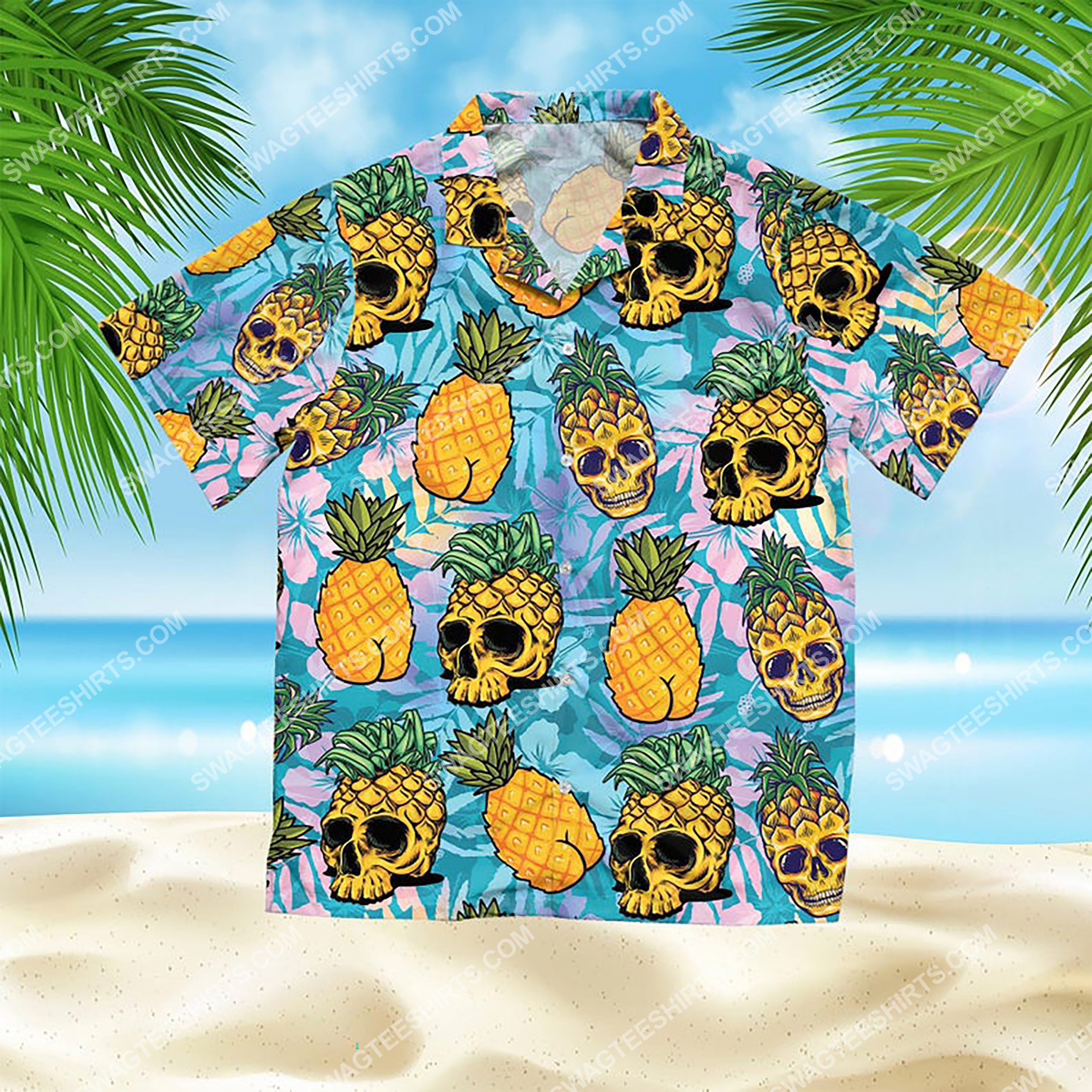 the tropical pineapple skull all over print hawaiian shirt 2(1) - Copy