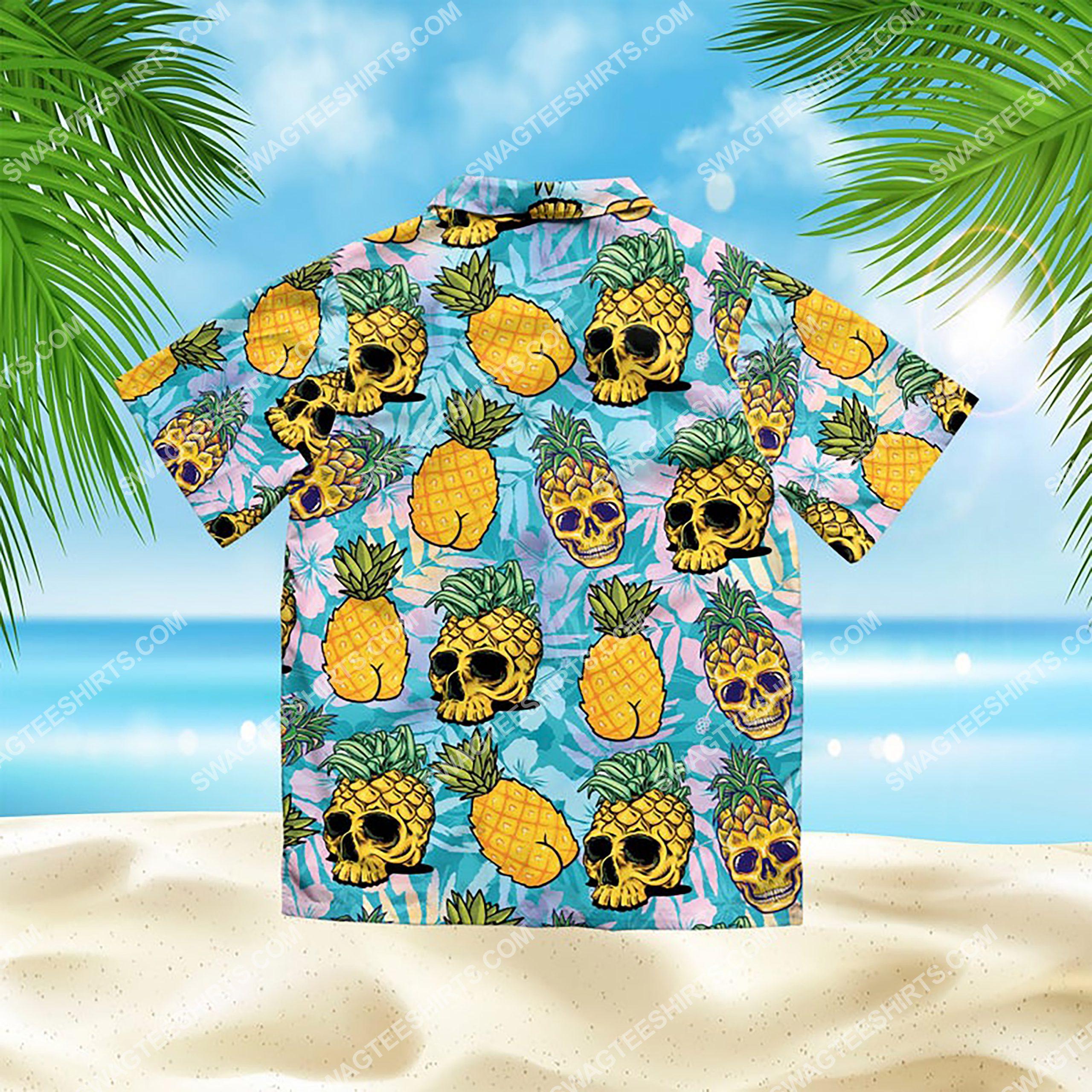 the tropical pineapple skull all over print hawaiian shirt 3(1)