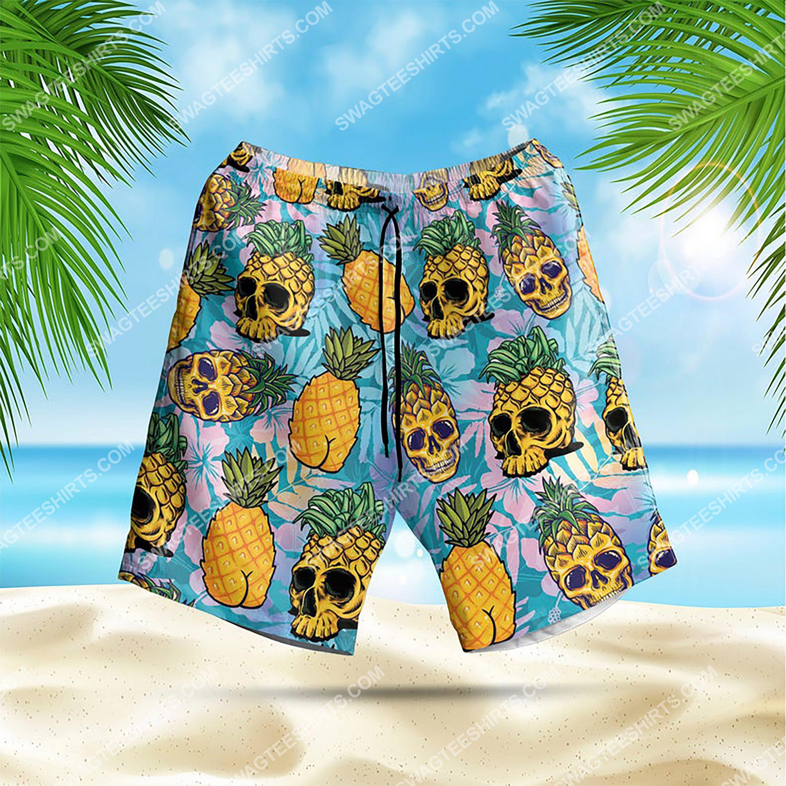 the tropical pineapple skull all over print hawaiian shorts 1