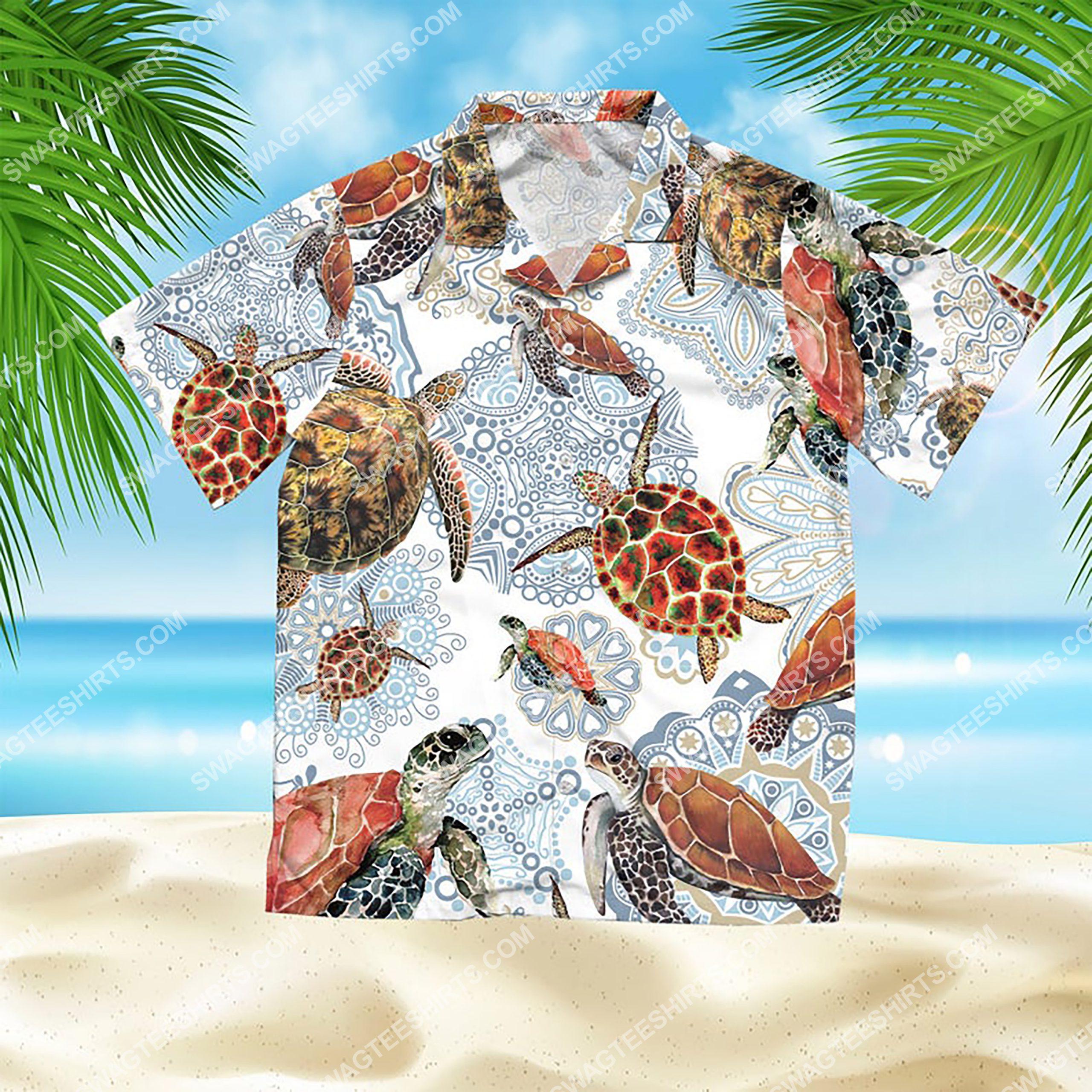 turtle mandala summer vacation all over print hawaiian shirt 2(1)
