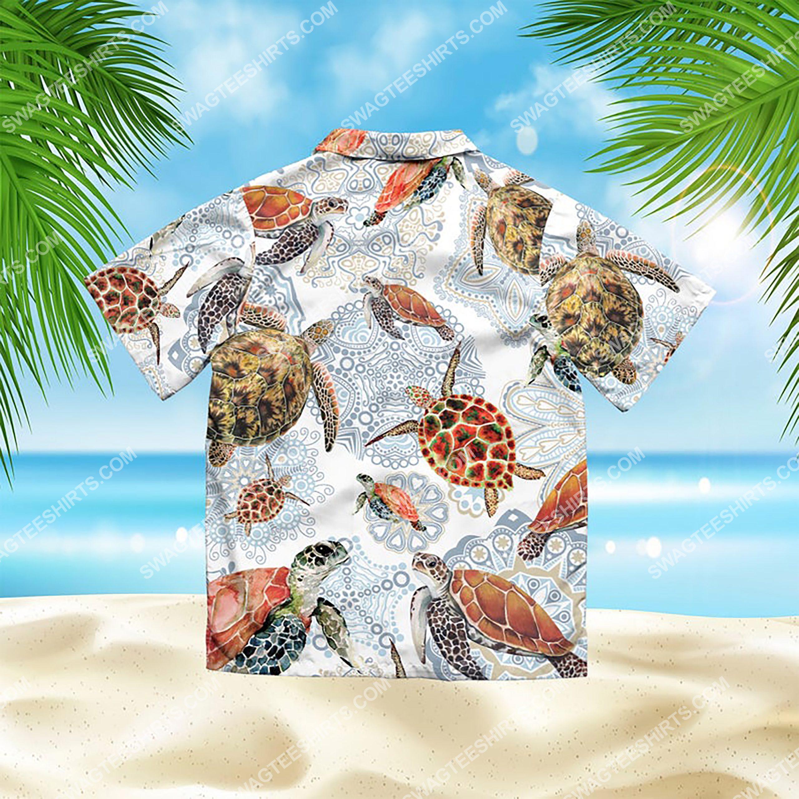 turtle mandala summer vacation all over print hawaiian shirt 3(1)